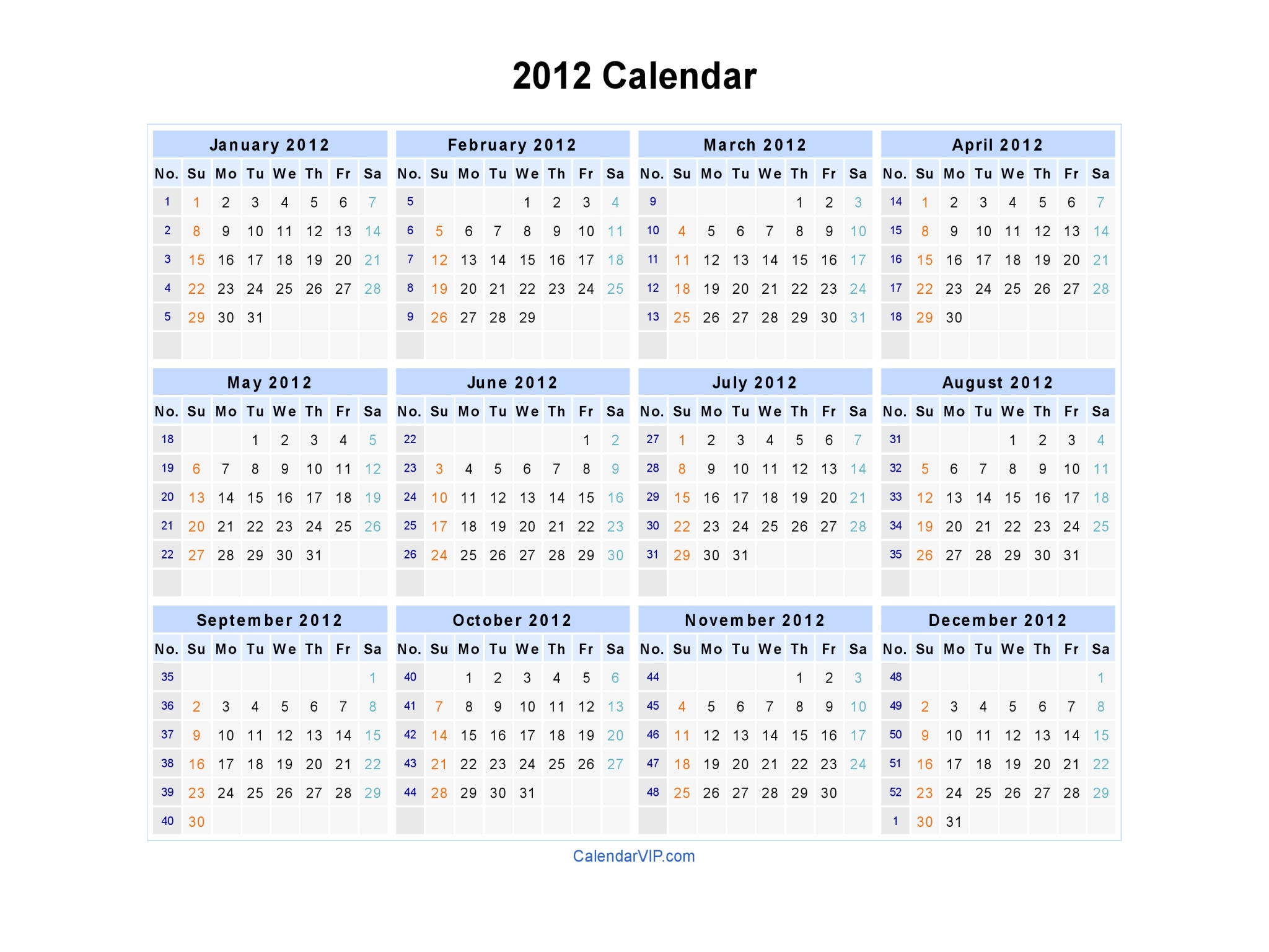 Calendar Template - Blank & Printable Calendar in Word Format