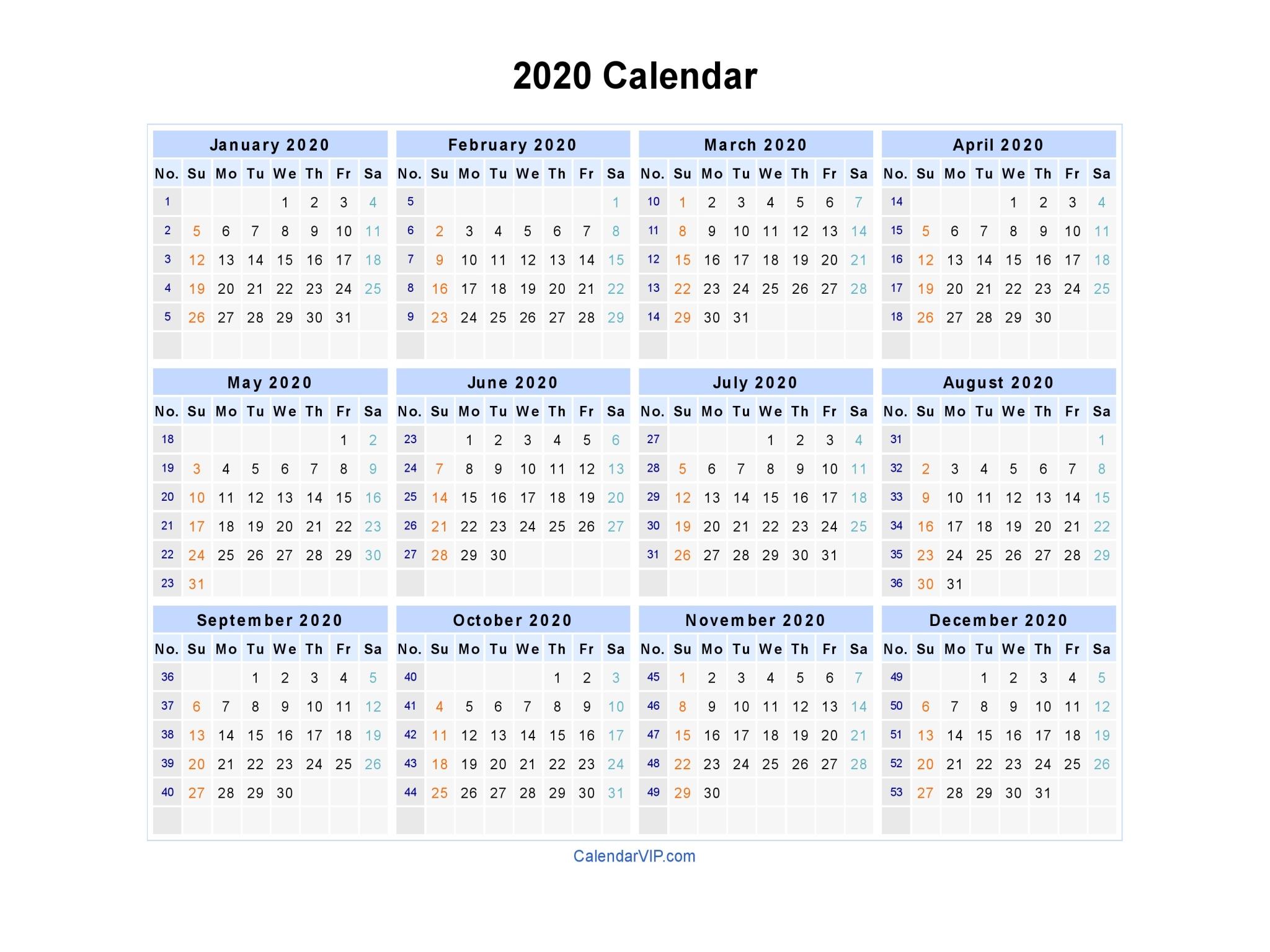 2020 Printable Calendar Word.2020 Calendar Blank Printable Calendar Template In Pdf Word Excel