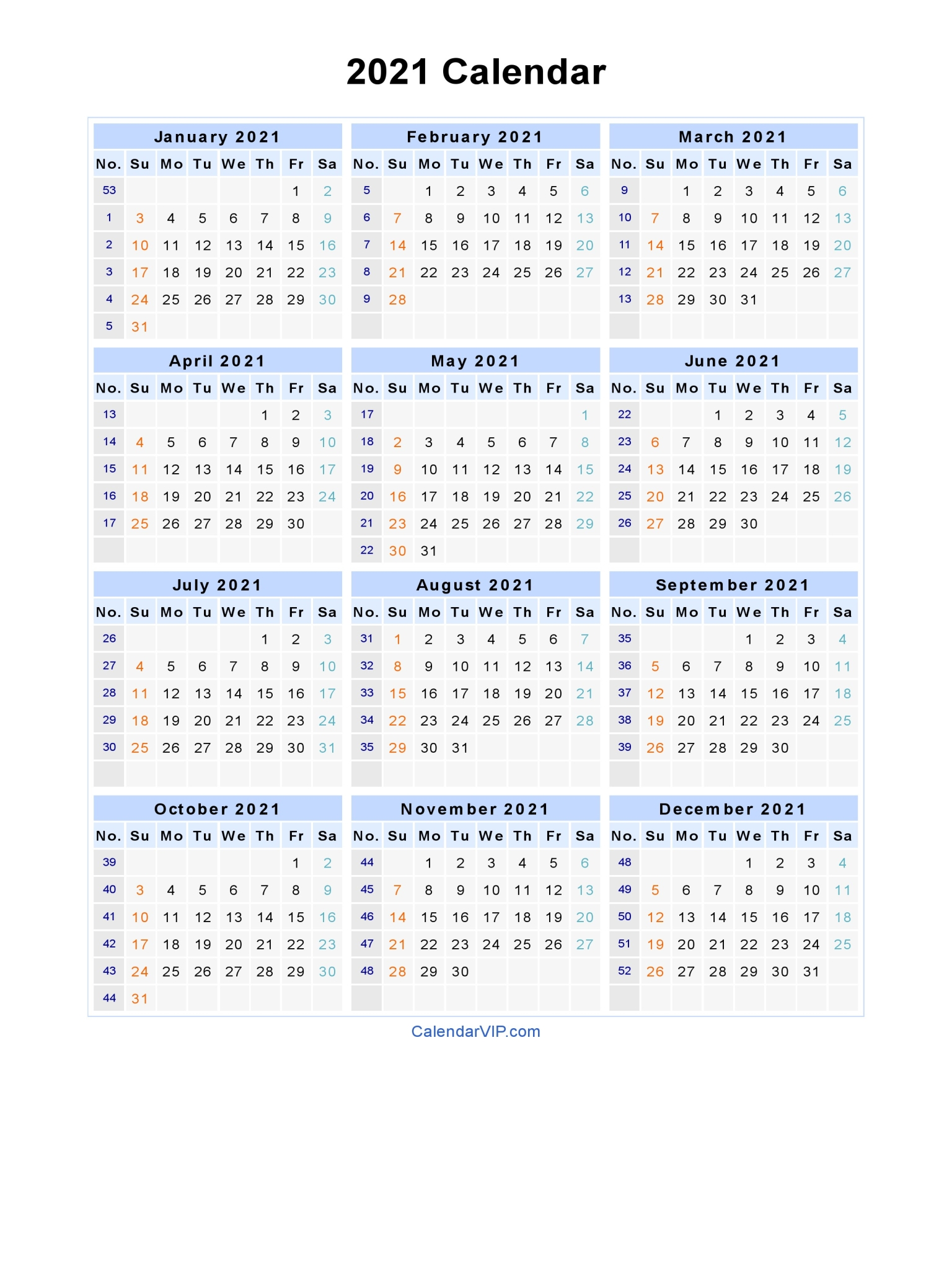 graphic about 2021 Calendar Printable identify 2021 Calendar - Blank Printable Calendar Template in just PDF