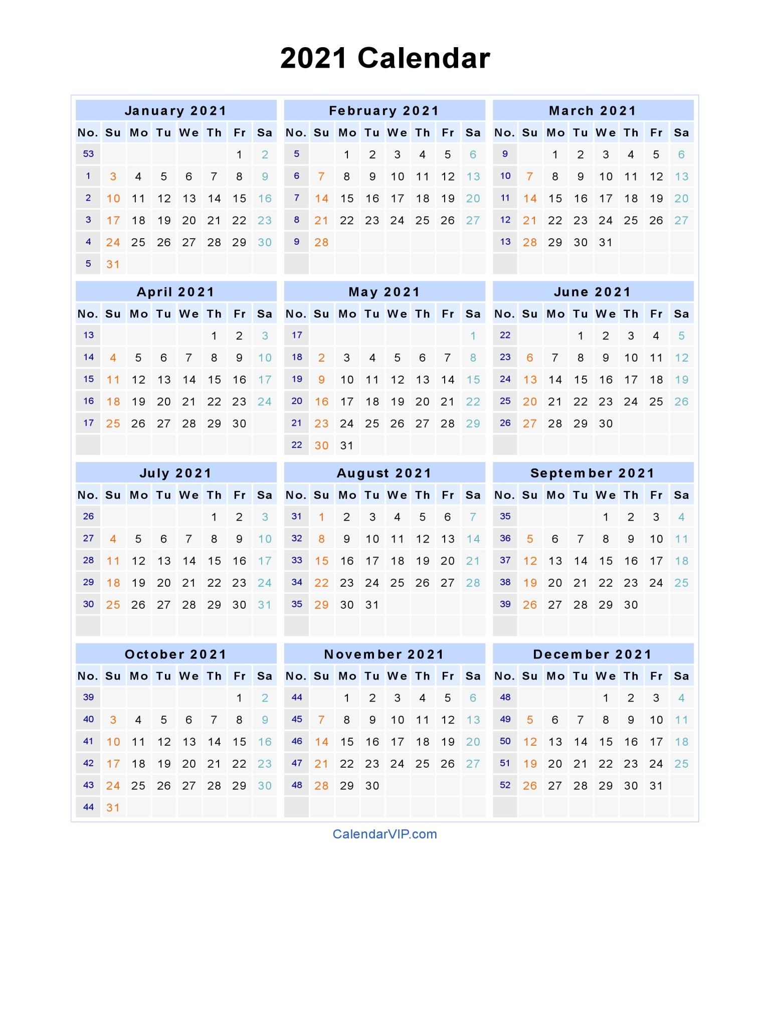 2021 Calendar - Blank Printable Calendar Template in PDF Word Excel