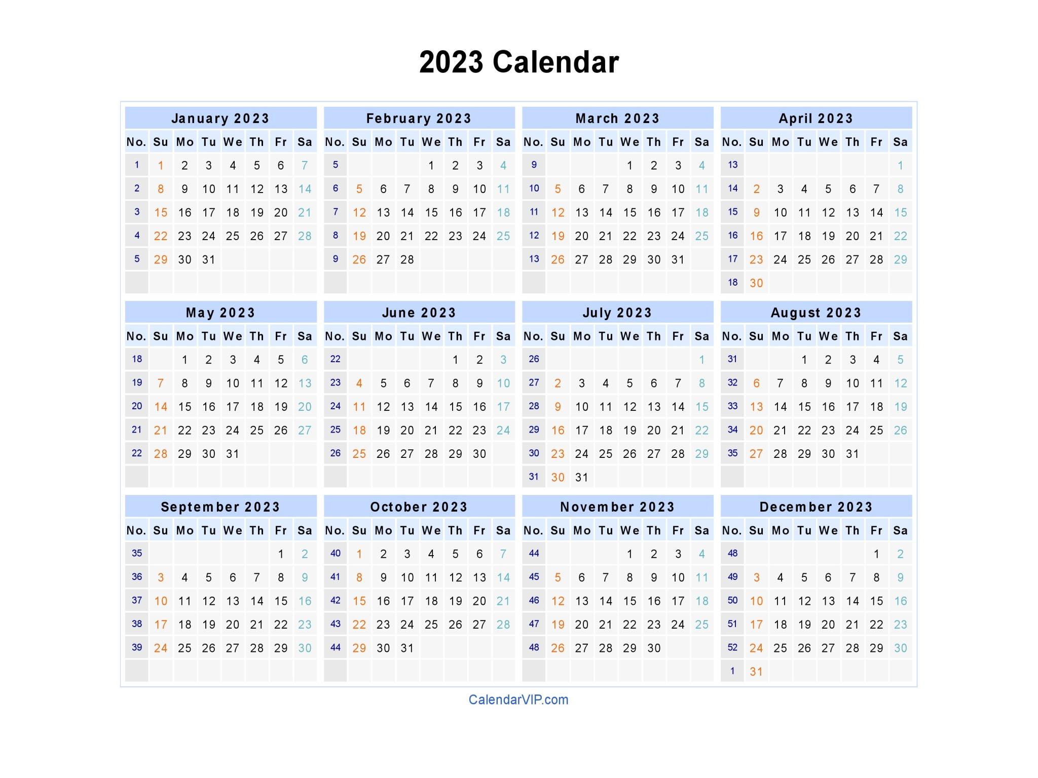 Year Calendar Numbers Template : Calendar blank printable template in pdf