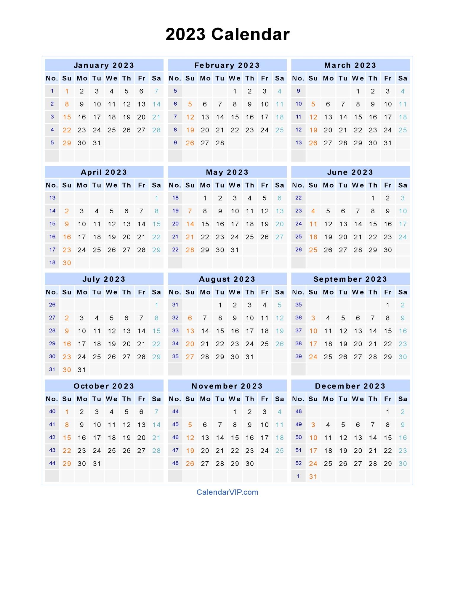 2023 Calendar - Blank Printable Calendar Template in PDF Word Excel