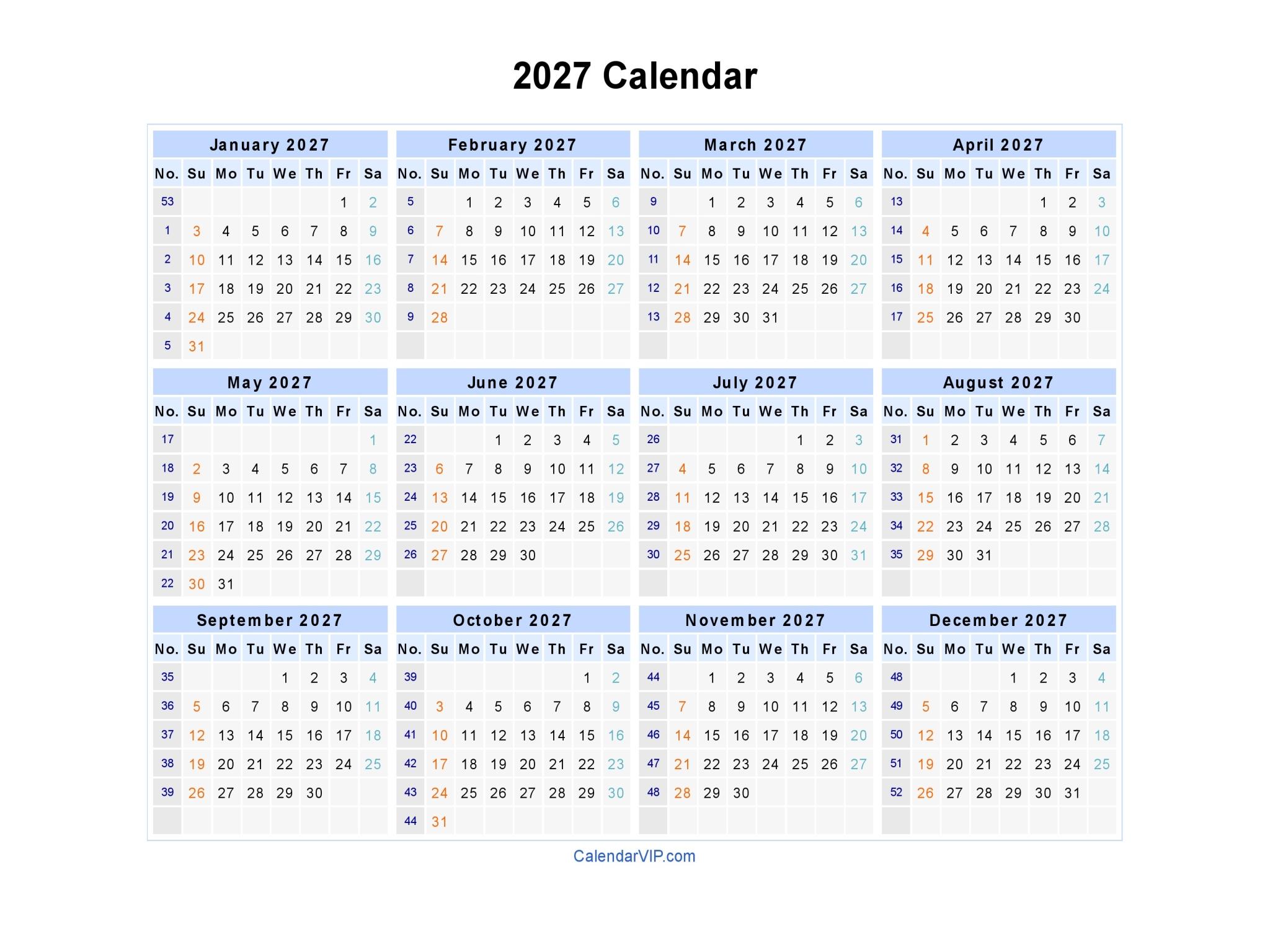 2027 Calendar - Blank Printable Calendar Template in PDF Word Excel