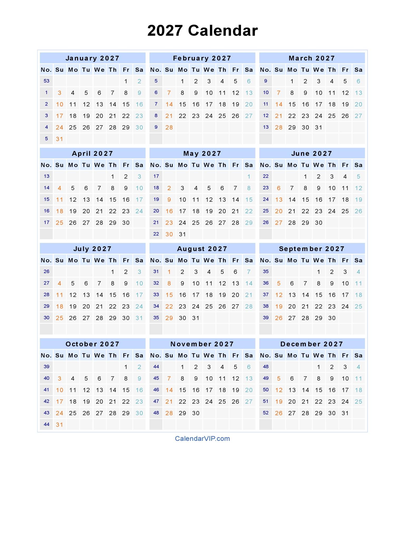 2027 Calendar Landscape · 2027 Calendar Portrait