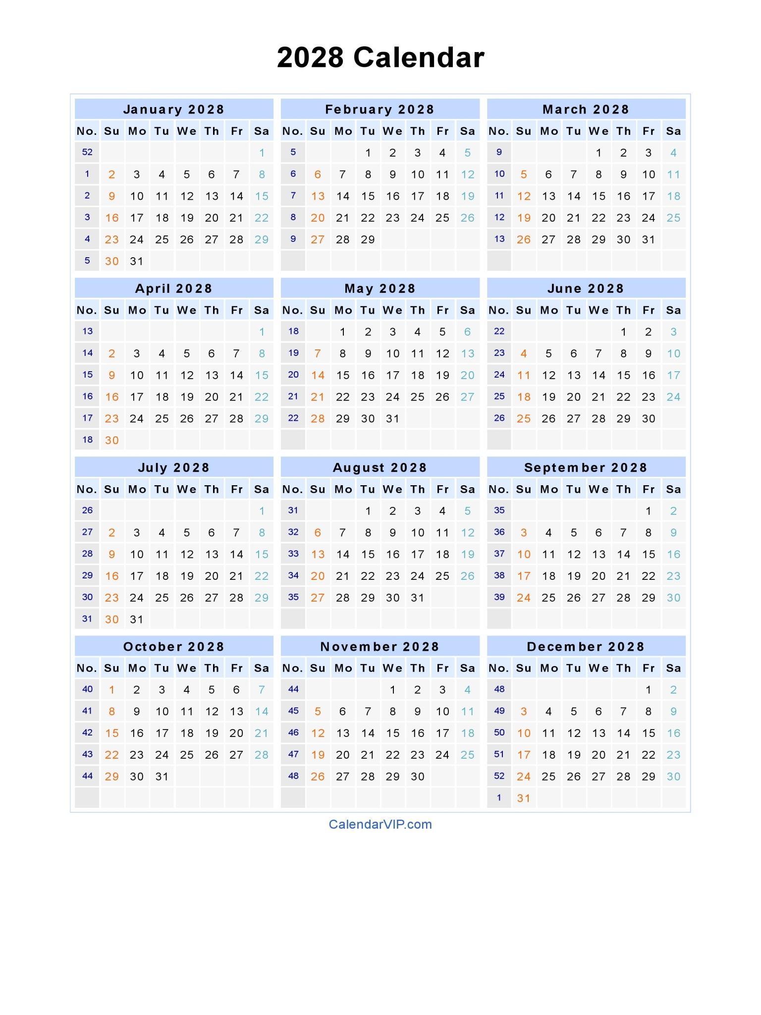 2028 Calendar - Blank Printable Calendar Template in PDF Word Excel
