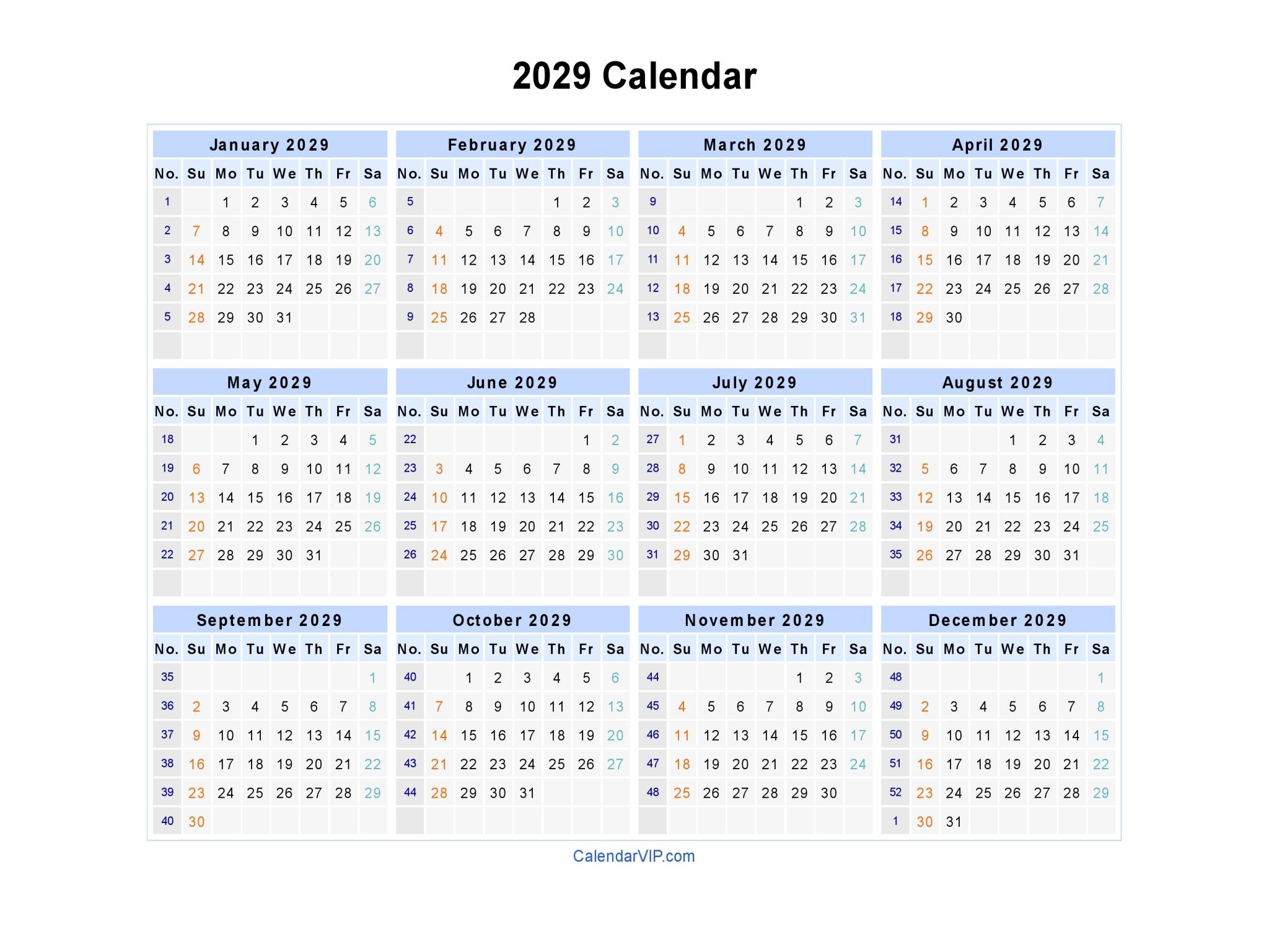 2029 Calendar - Blank Printable Calendar Template in PDF Word Excel