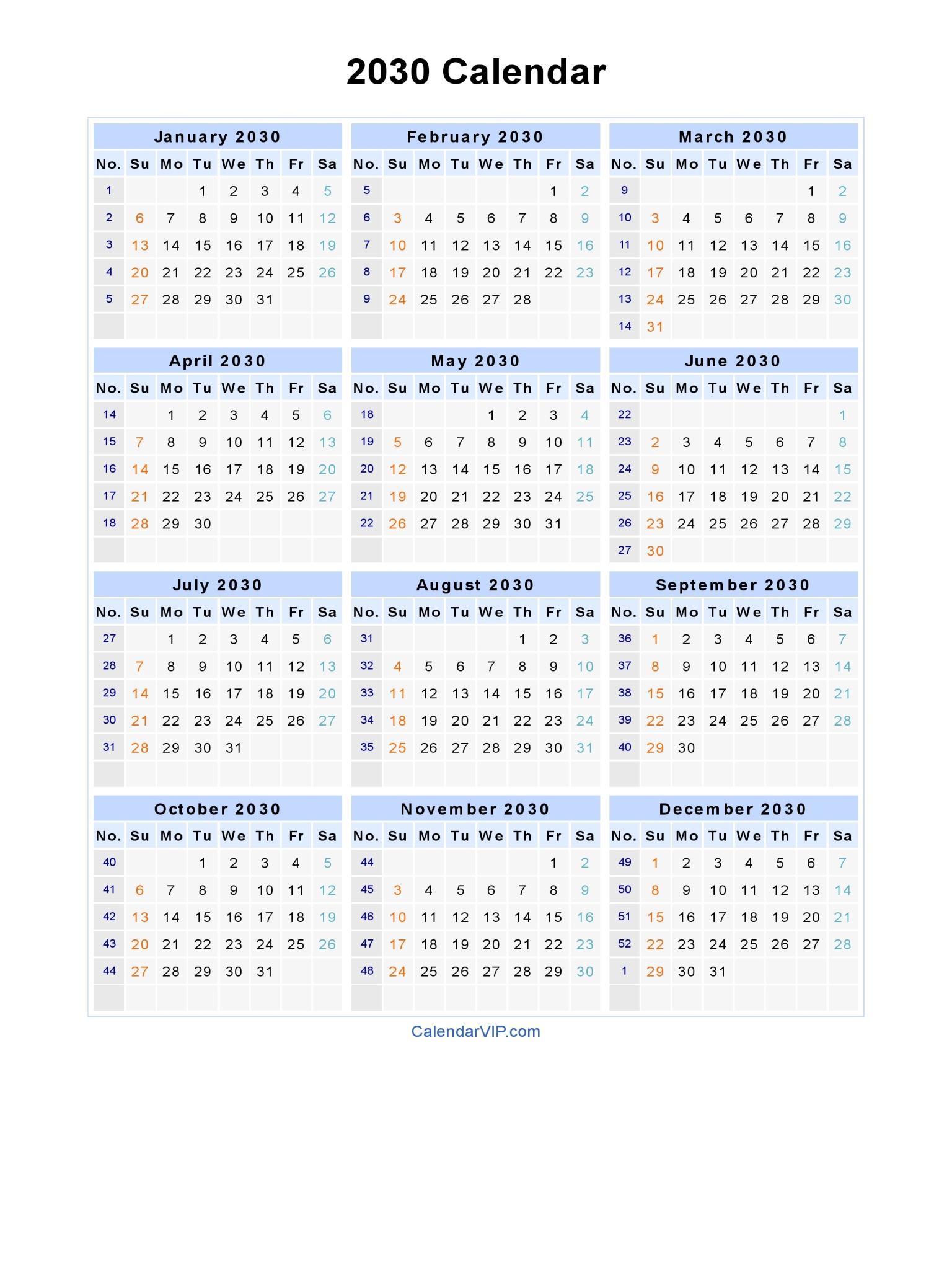2030 calendar blank printable calendar template in pdf for Document 2030 pdf