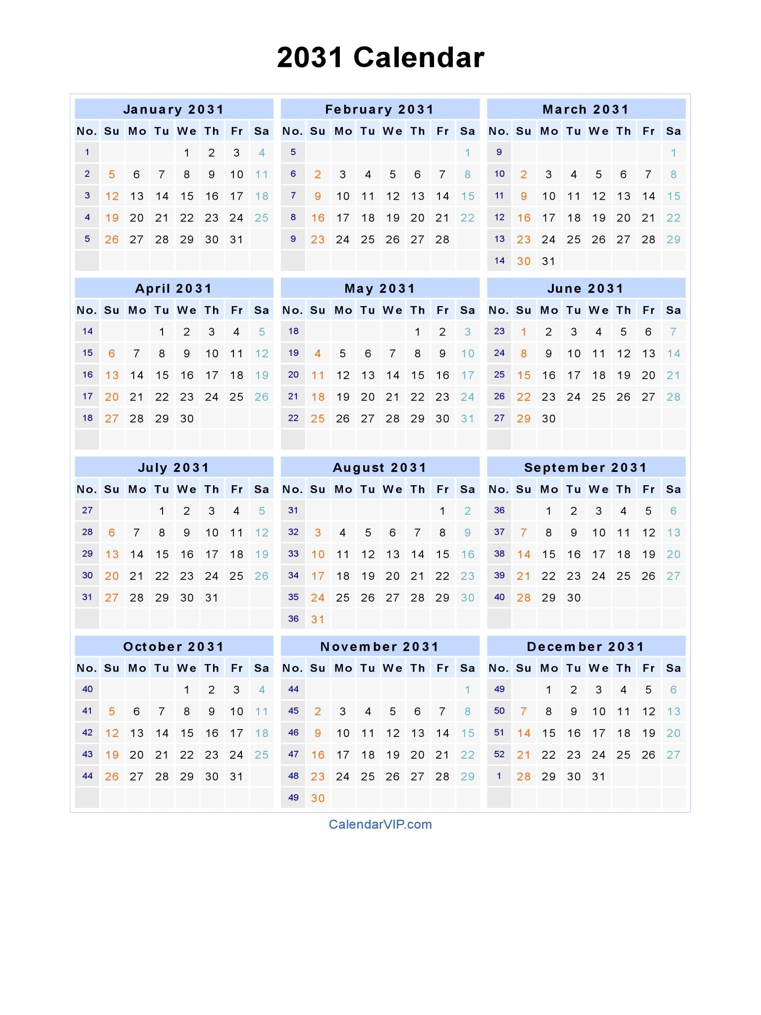 2031 Calendar Landscape · 2031 Calendar Portrait