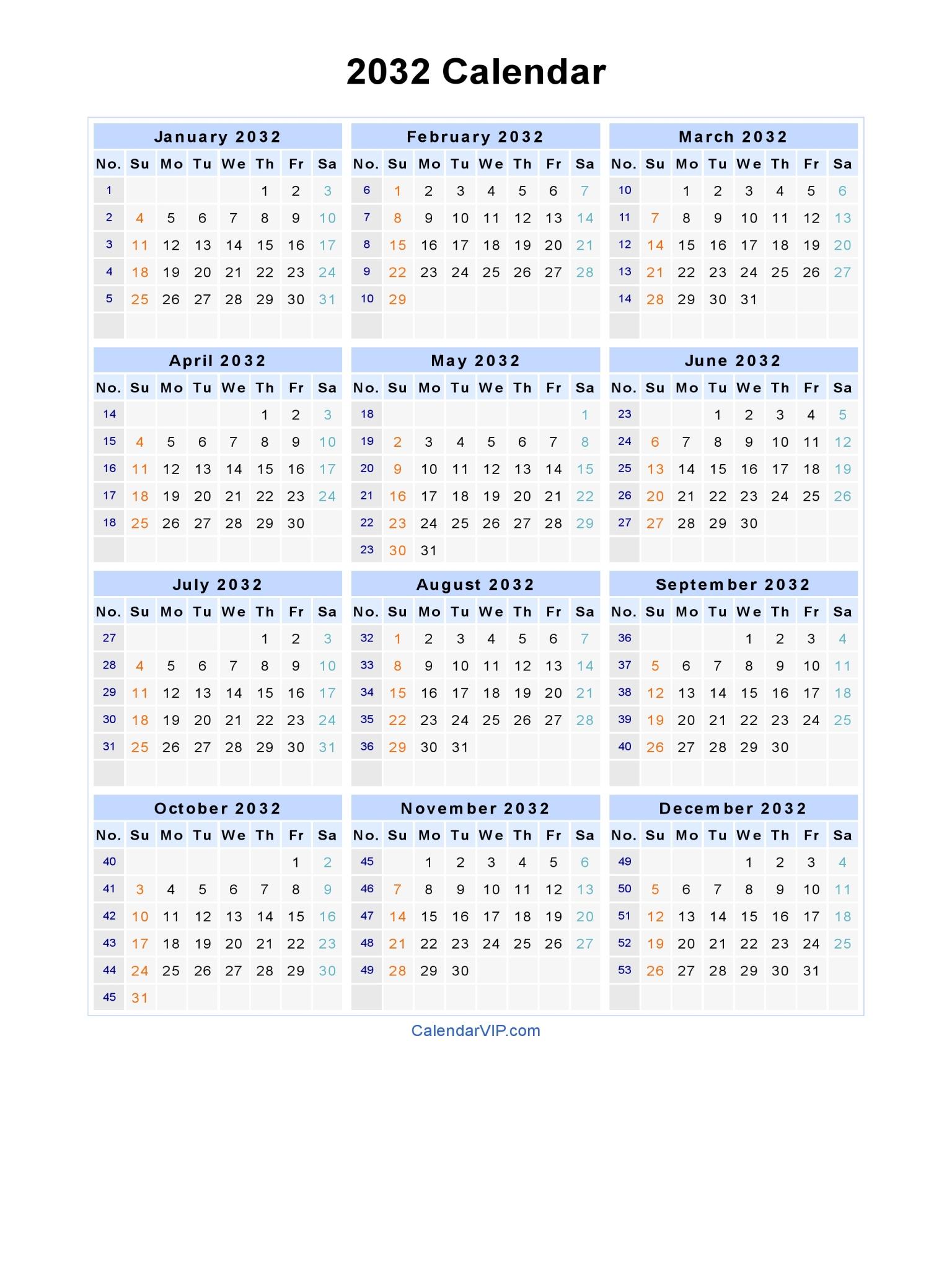 2032 Calendar - Blank Printable Calendar Template in PDF Word Excel
