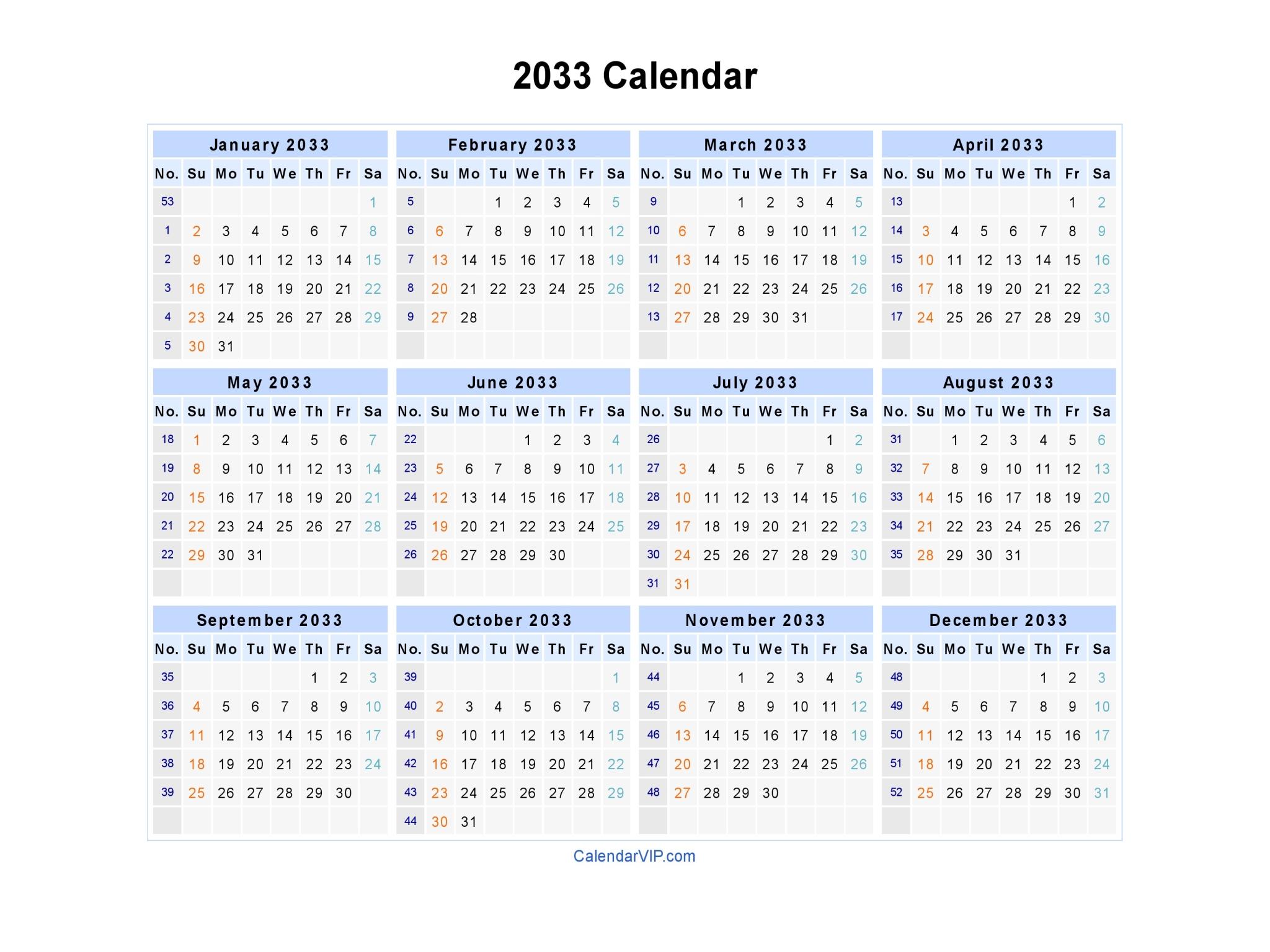 2033 Calendar - Blank Printable Calendar Template in PDF Word Excel