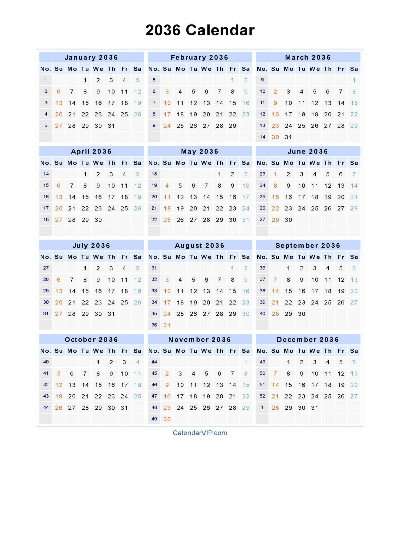2036 calendar