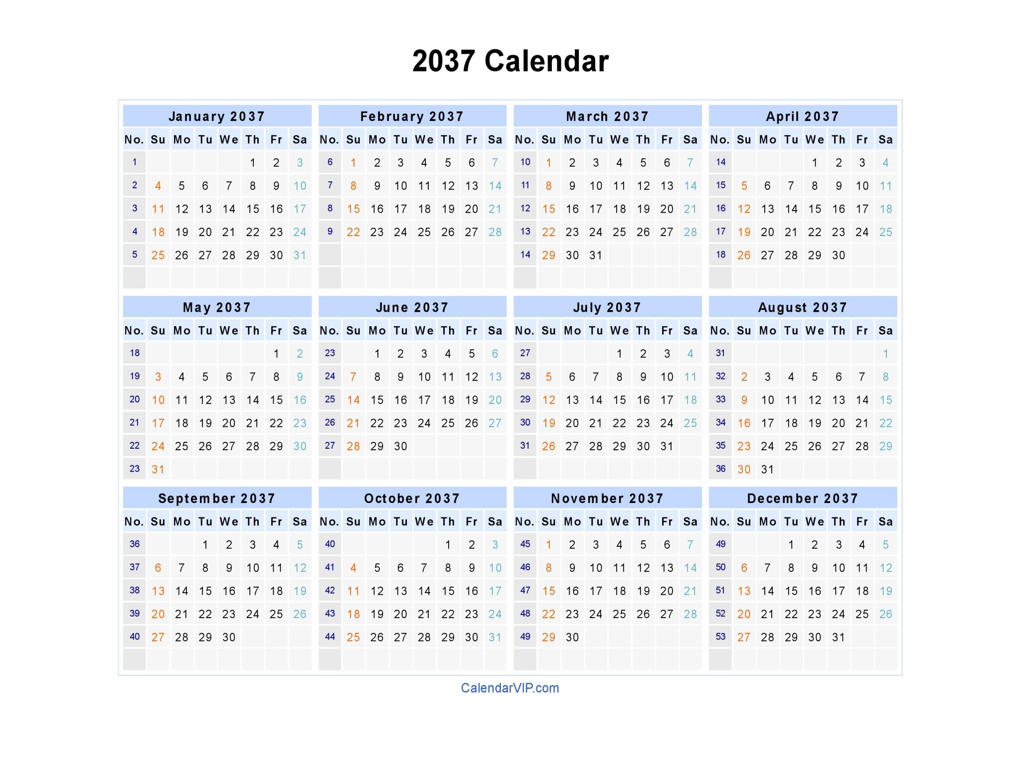 2037 Calendar - Blank Printable Calendar Template in PDF Word Excel