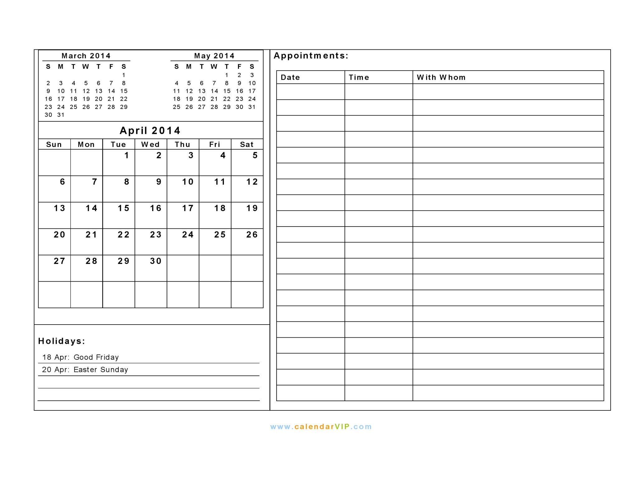 April 2014 Monthly Calendar Template Download april 2014 calendar