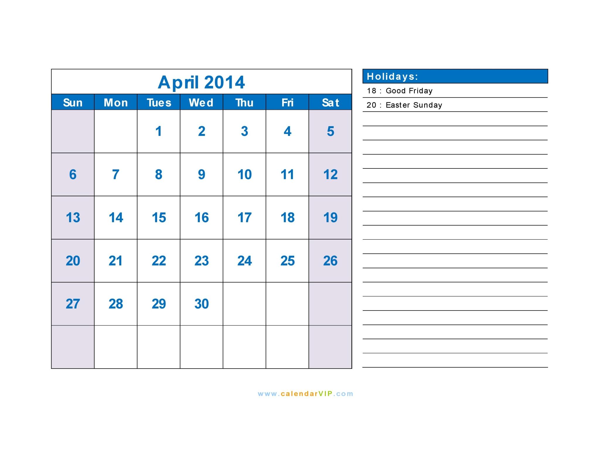 April 2014 Calendar Blank Printable Calendar Template In Pdf Word