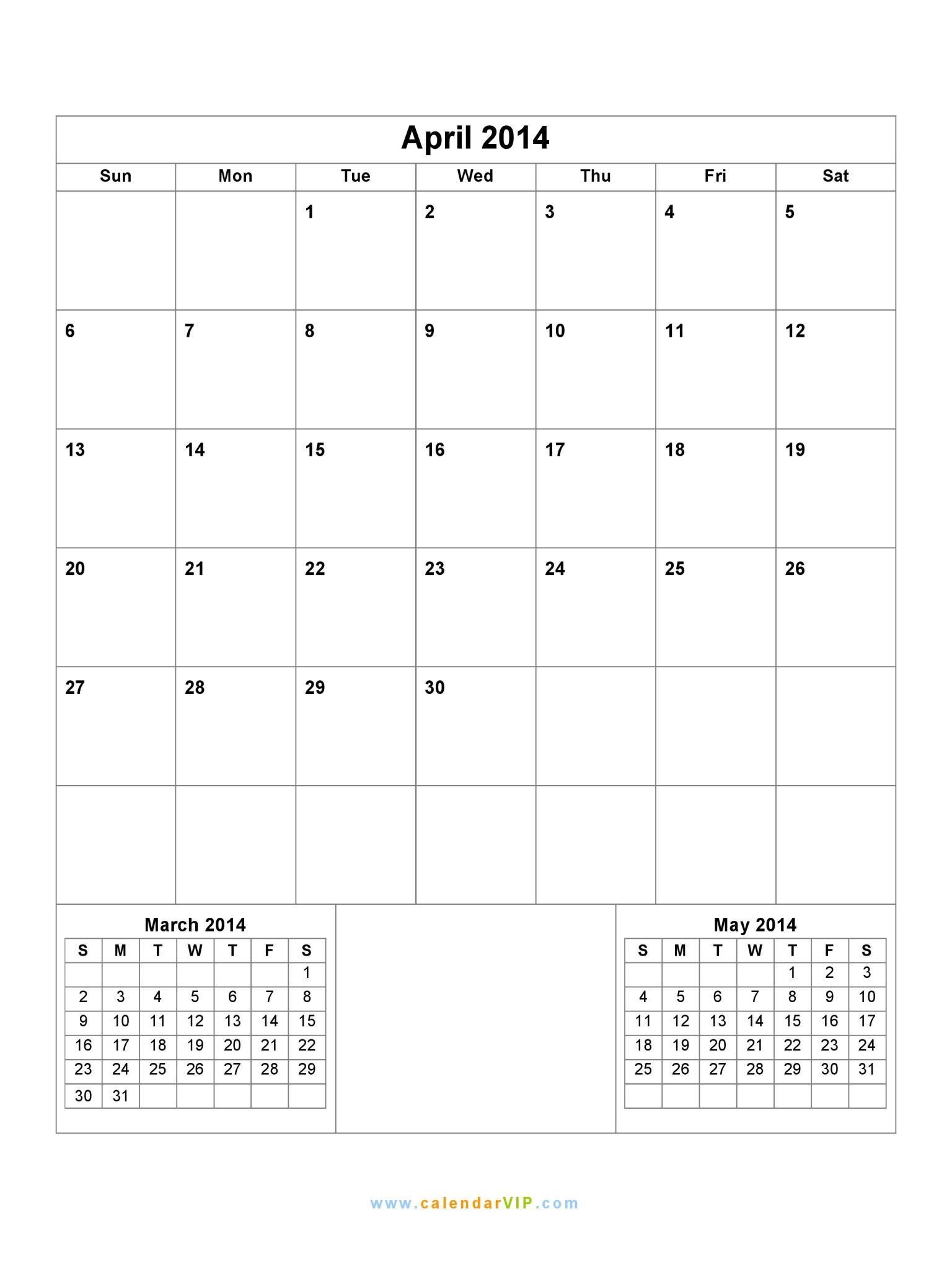 Calendar April 2014 : April calendar blank printable template in
