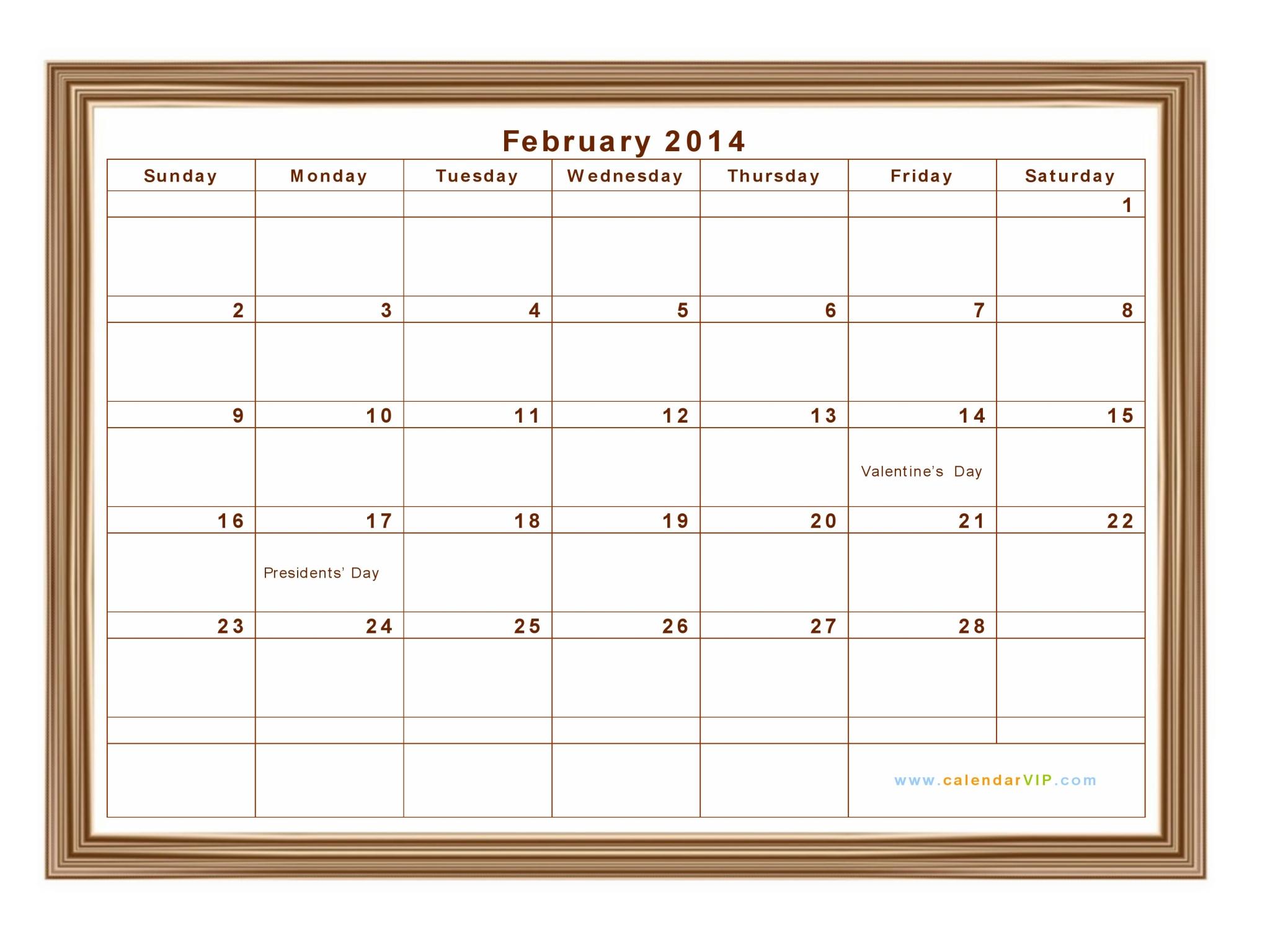 Calendar 2014 February Holidays February 2014 calendar - blank
