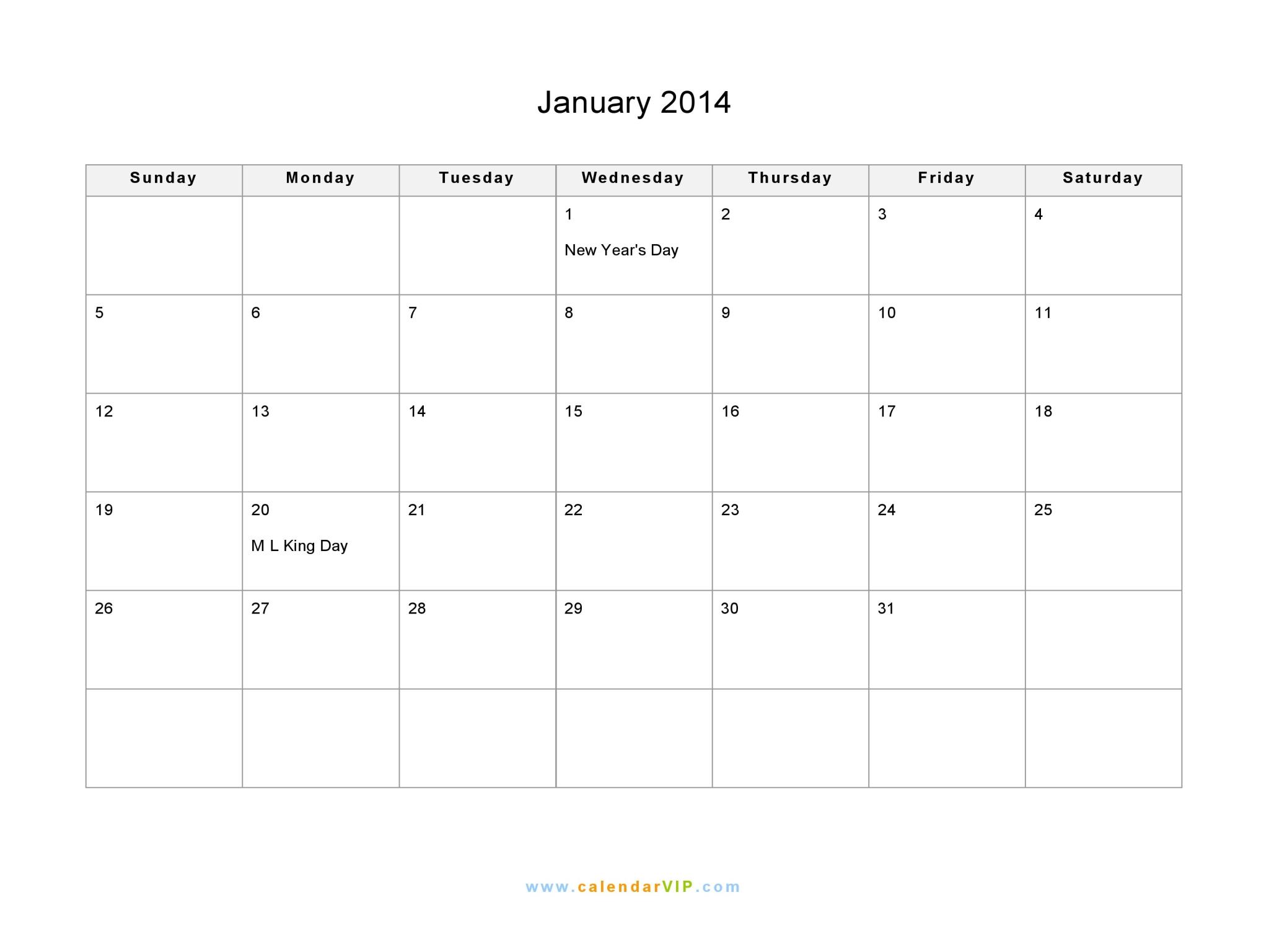 January 2014 Calendar - Blank Printable Calendar Template ... January 2014 Calendar Printable Portrait