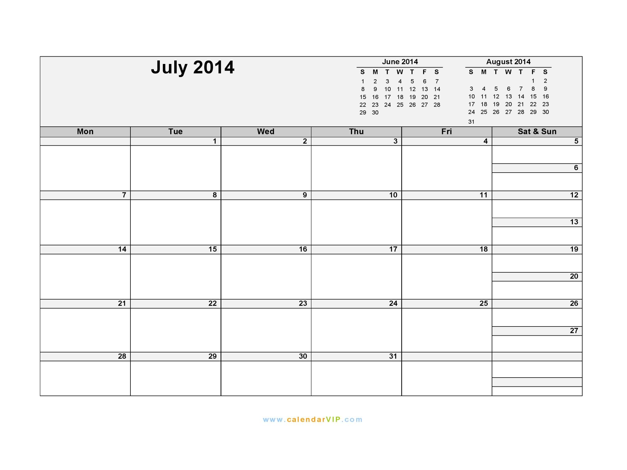 blank weekly calendar landscape