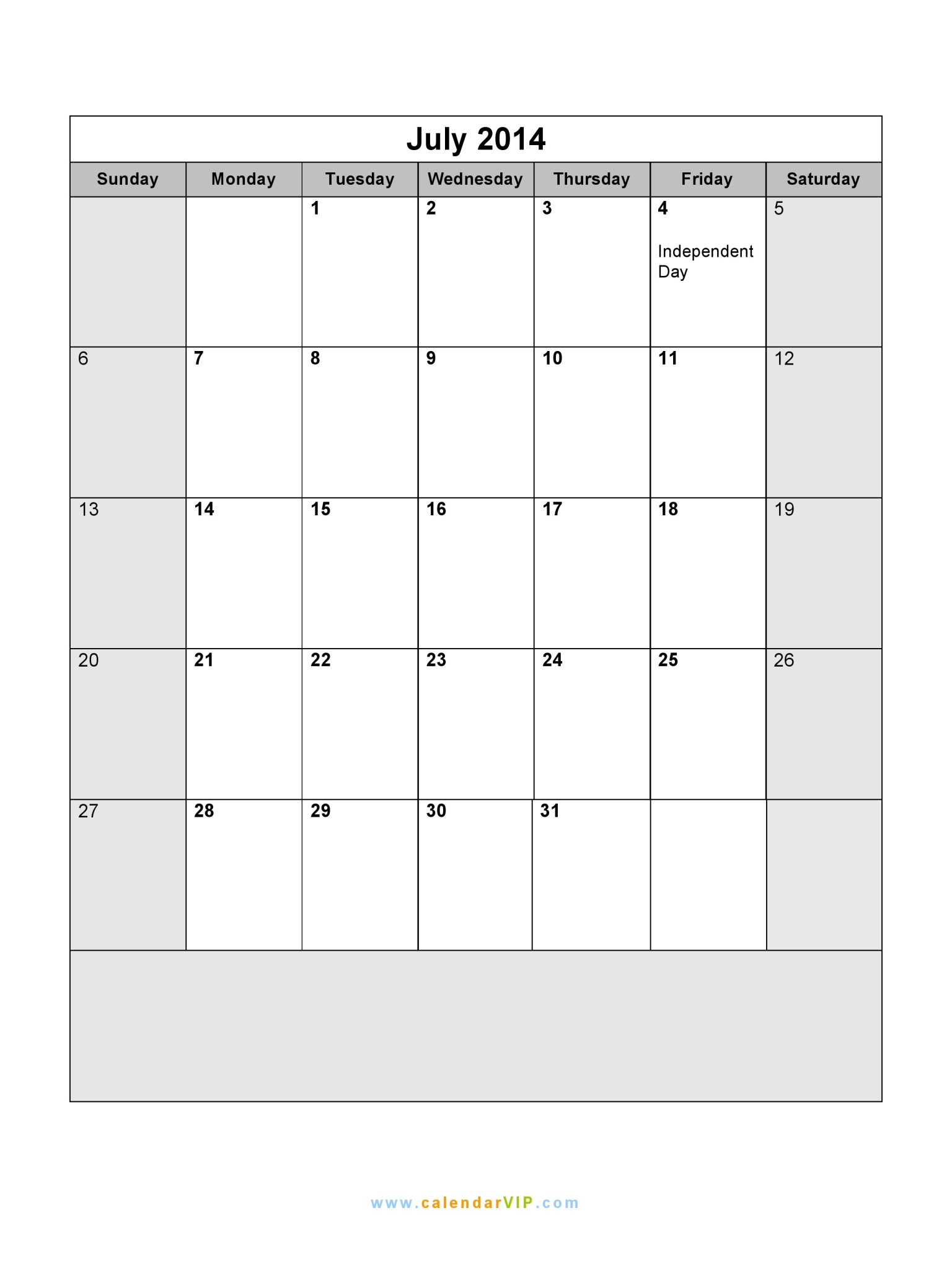 July 2014 Calendar Blank Printable Calendar Template In Pdf Word Excel
