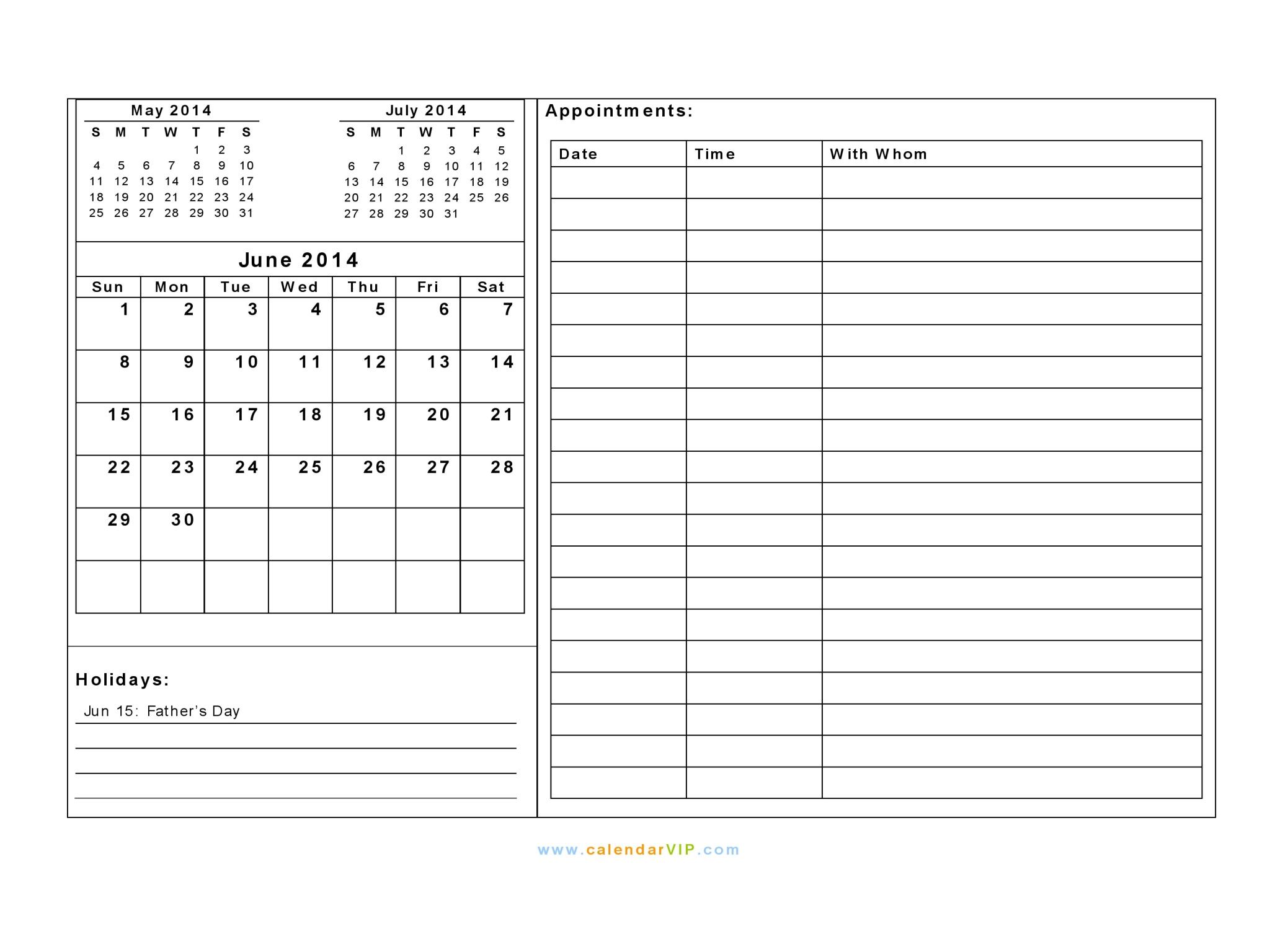 2014 calendar july