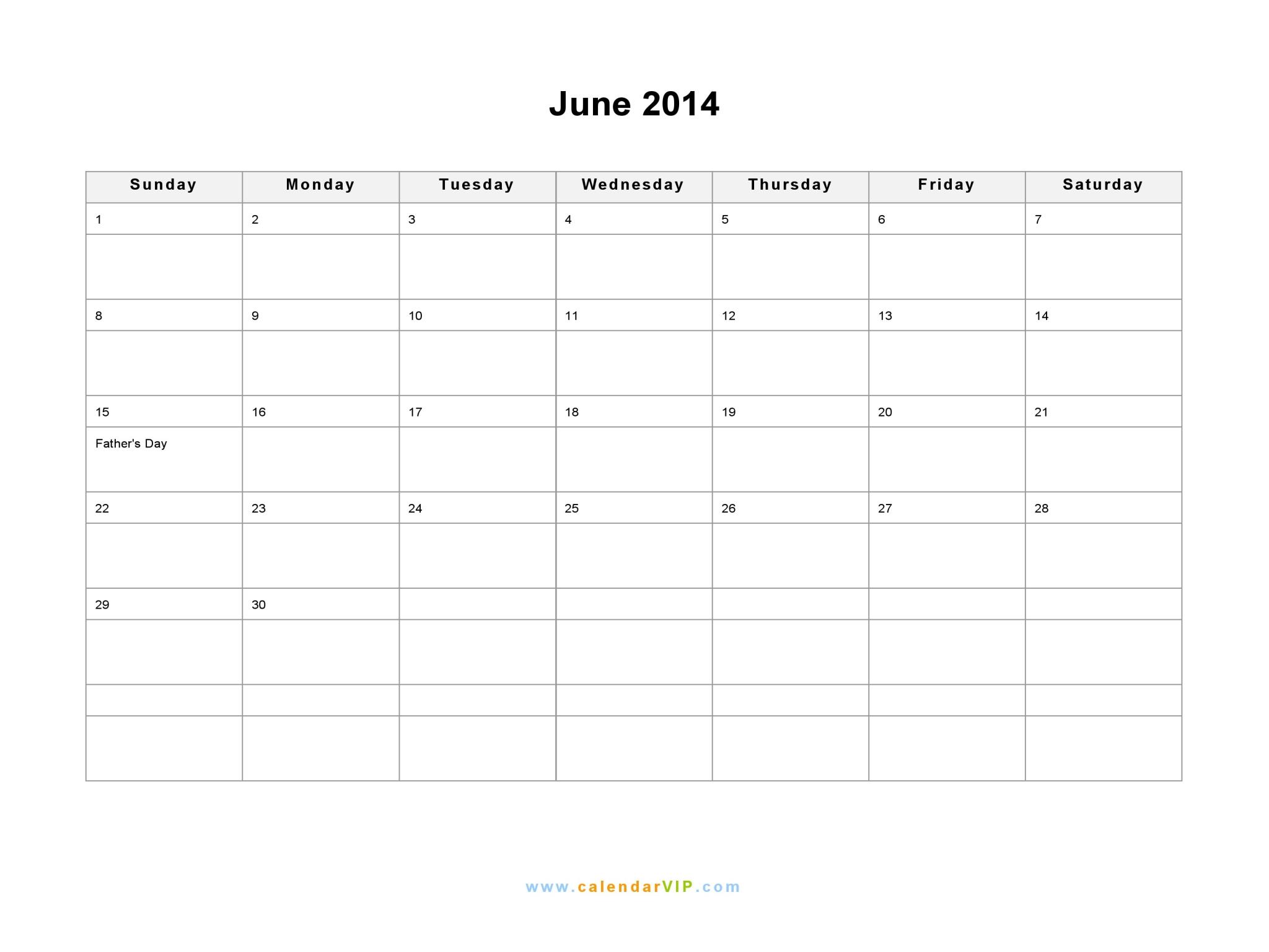 Calendar June 2014 : June calendar blank printable template in