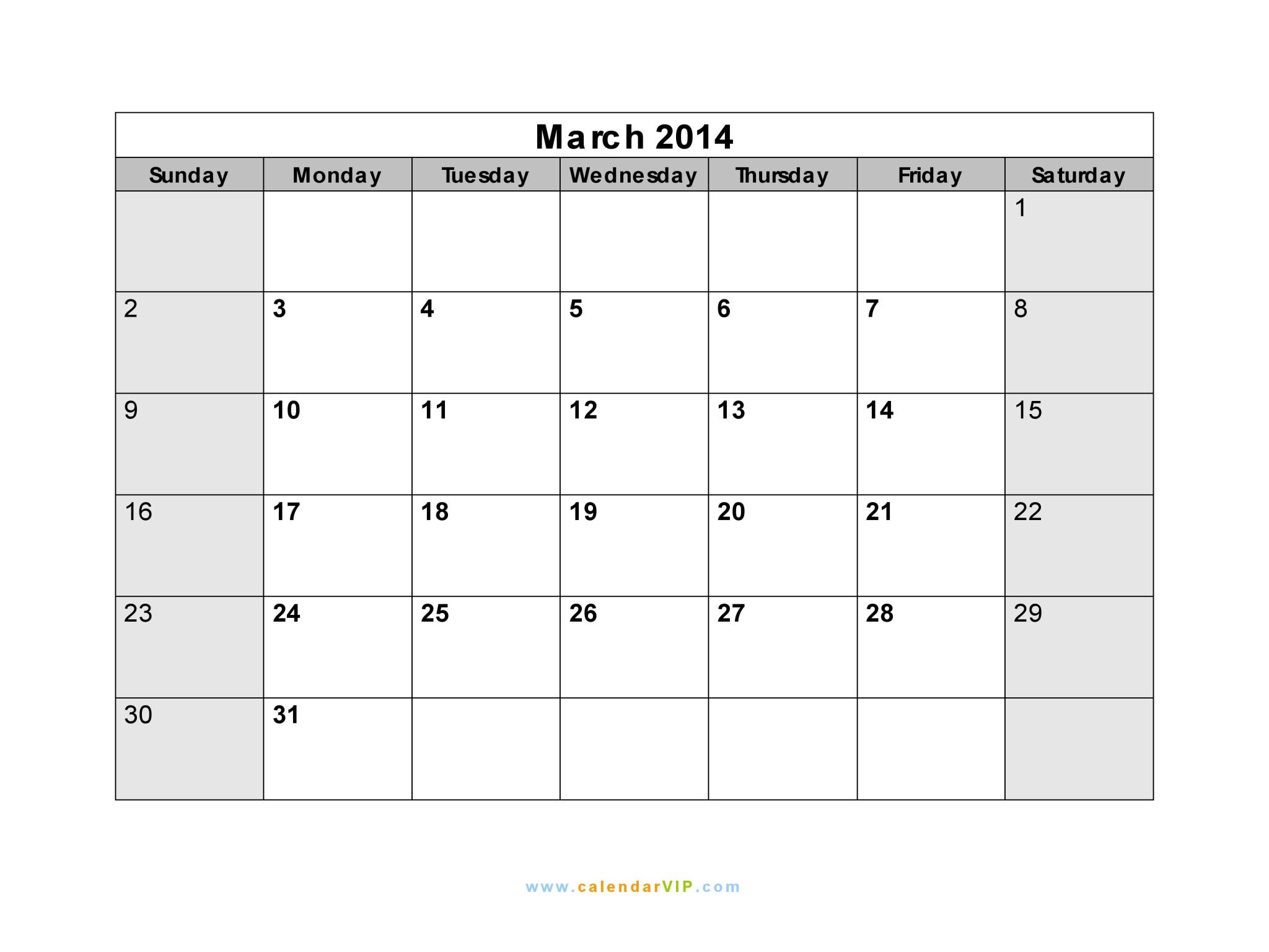 March 2014 calendar blank printable calendar template in pdf word march 2014 calendar saigontimesfo