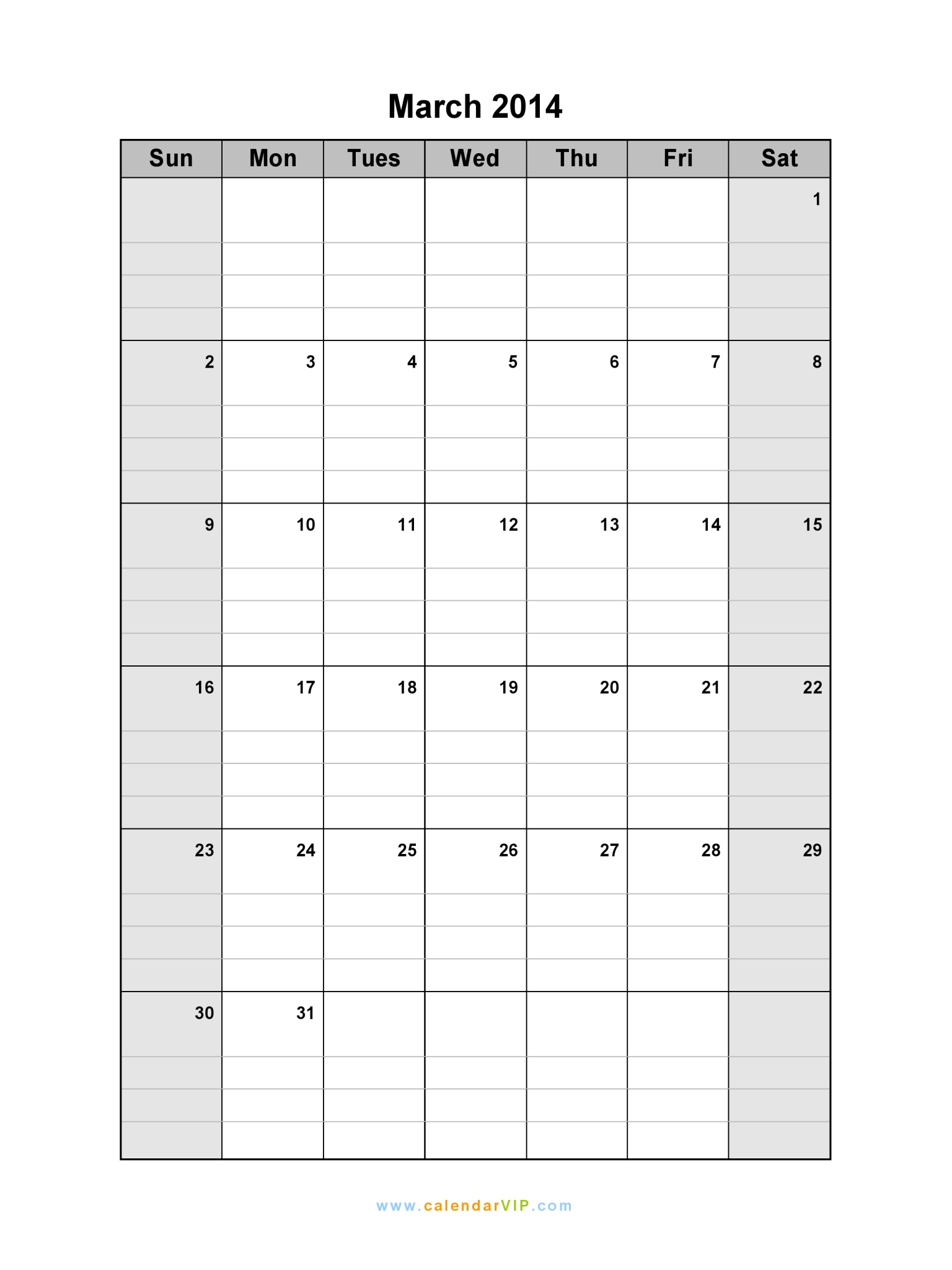 Calendar March 2014 : March calendar blank printable template in