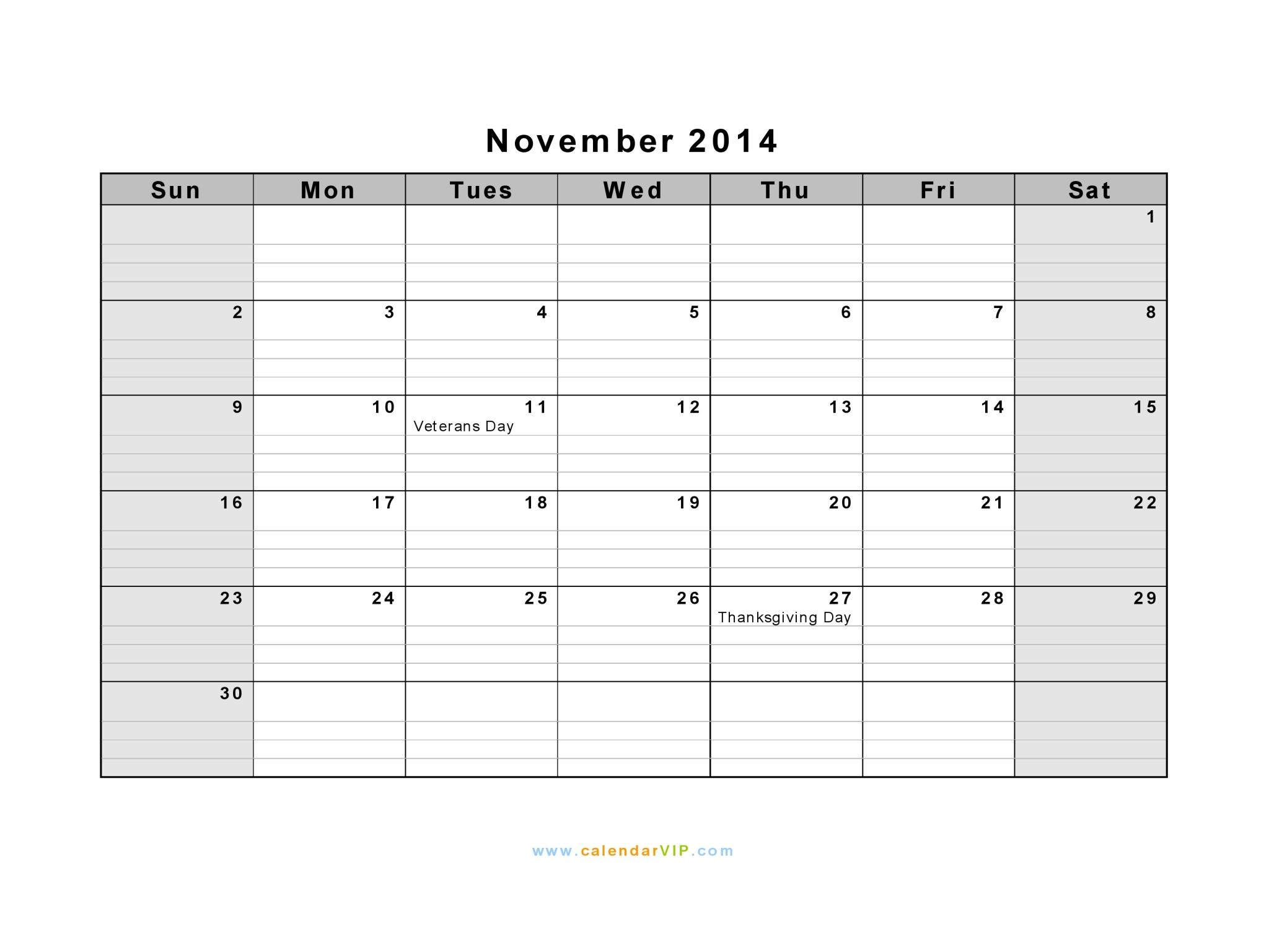 November 2014 Calendar Blank Printable Calendar Template In Pdf