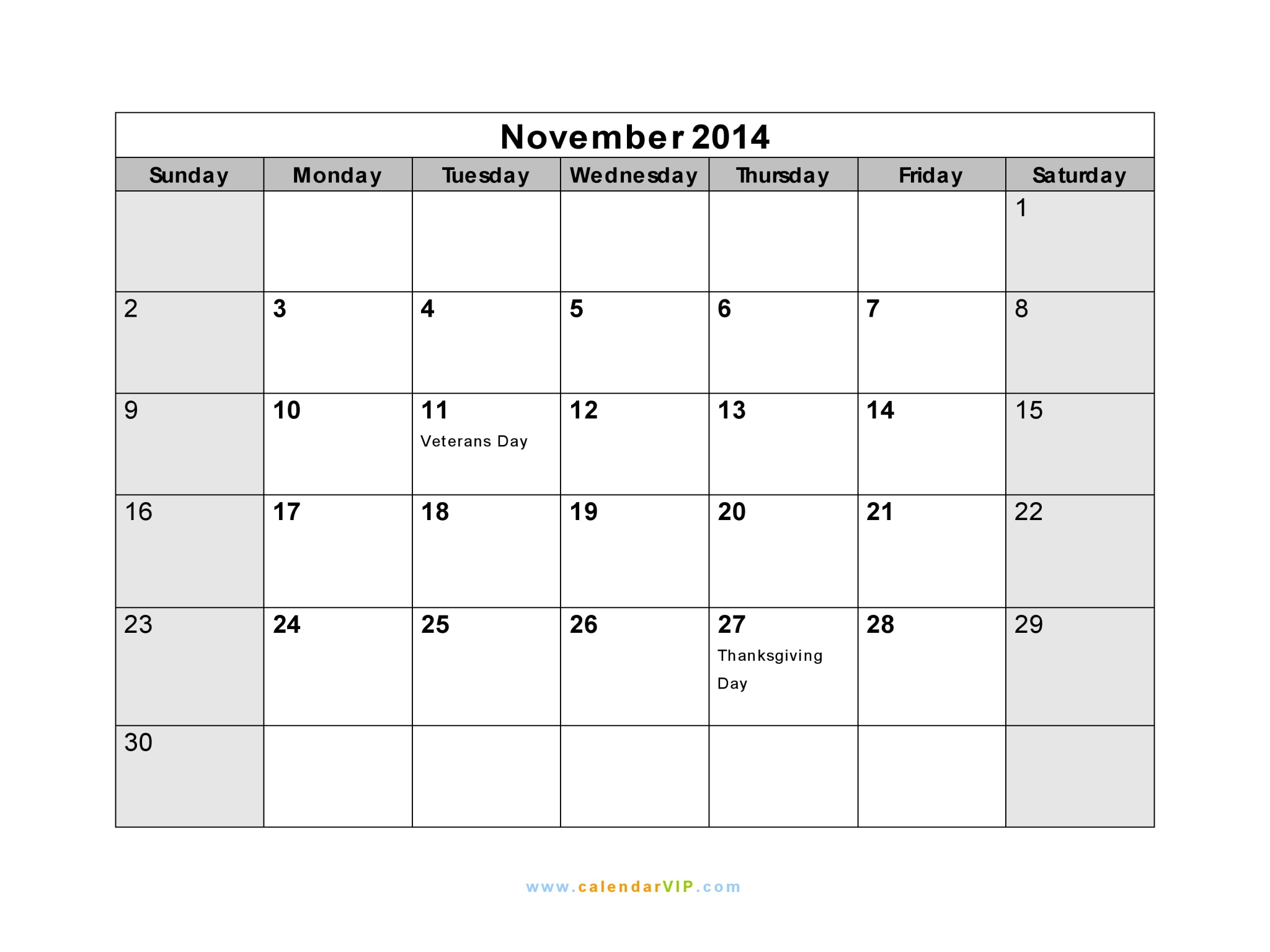 November 2014 calendar blank printable calendar template in pdf november 2014 calendar saigontimesfo