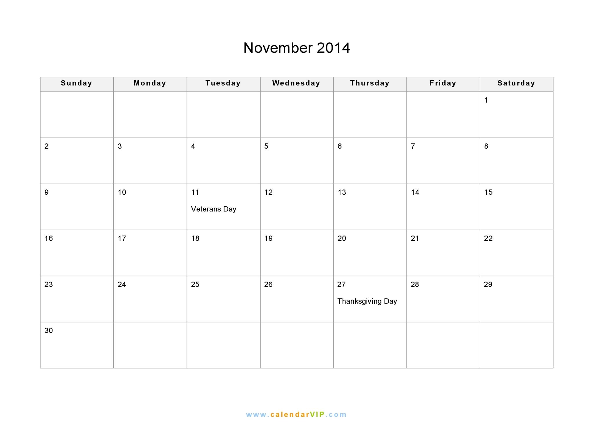 November Calendar 2014 : November calendar blank printable template