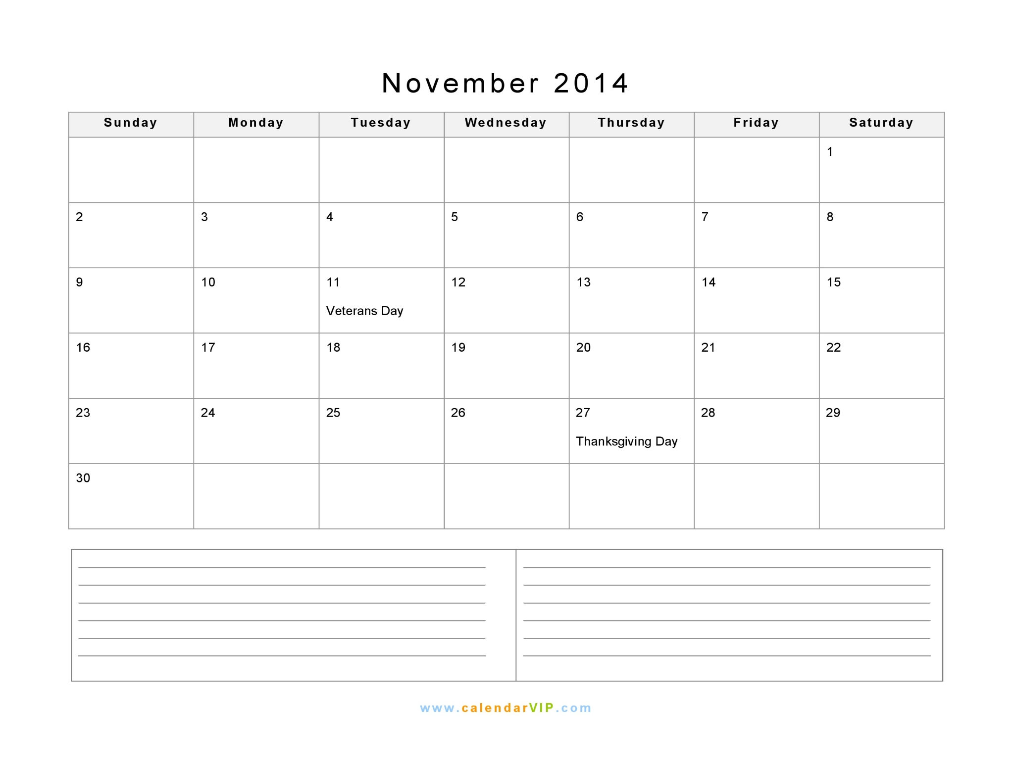 November 2014 Calendar Blank Printable Calendar Template In Pdf