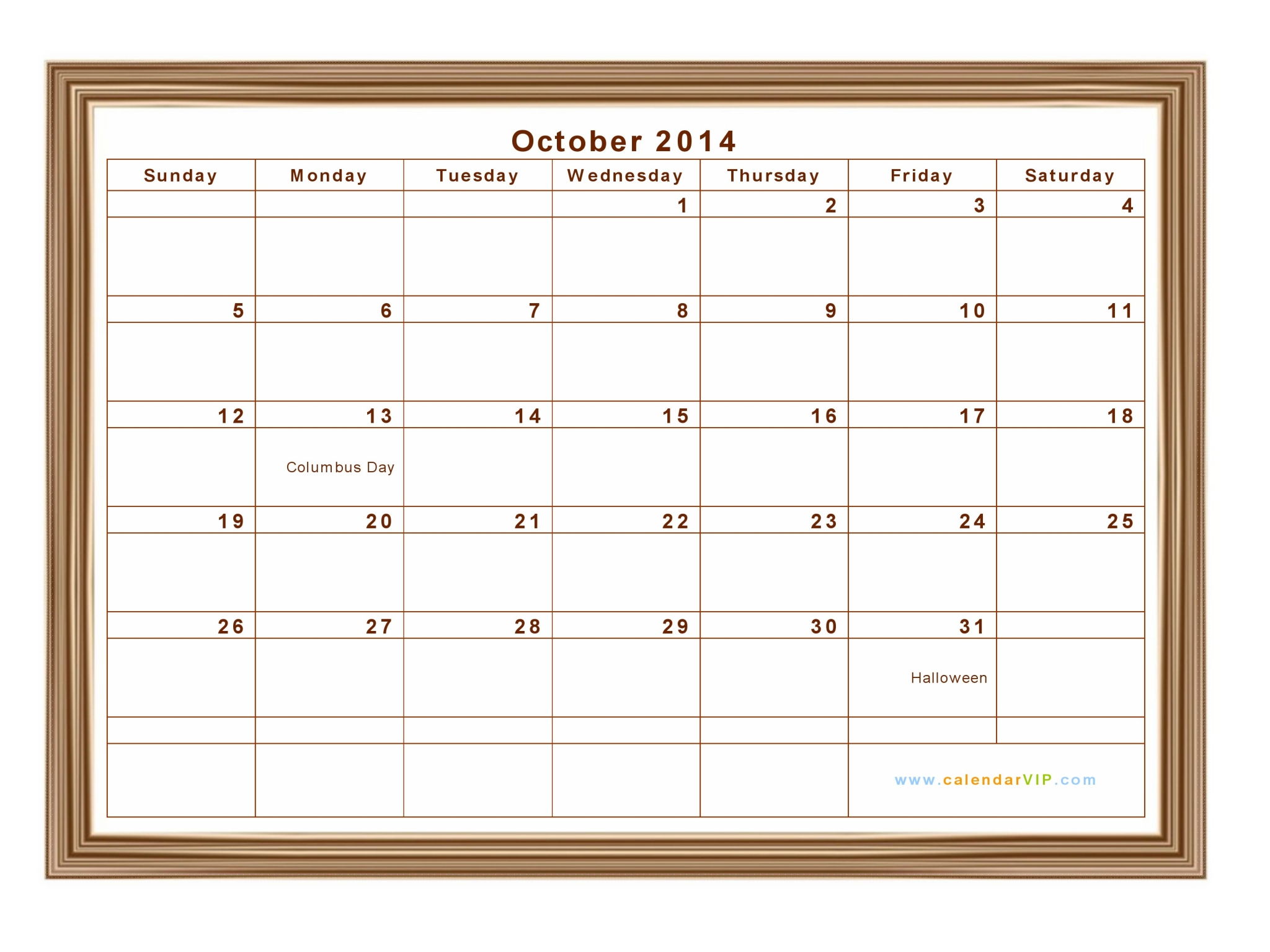 Calendar Template with Notes for Everyday - Landscape