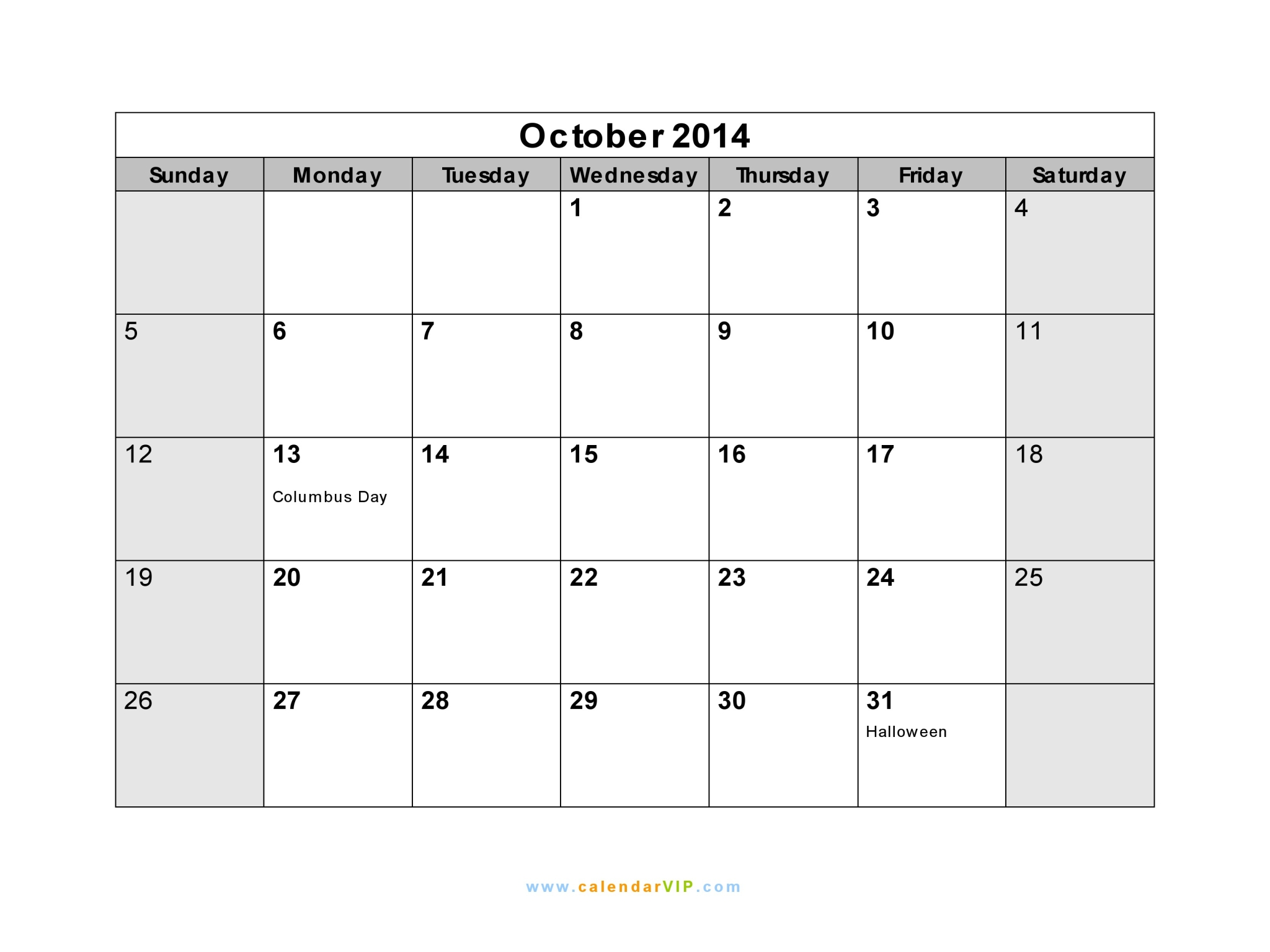 October 2014 Calendar Blank Printable Calendar Template In Pdf