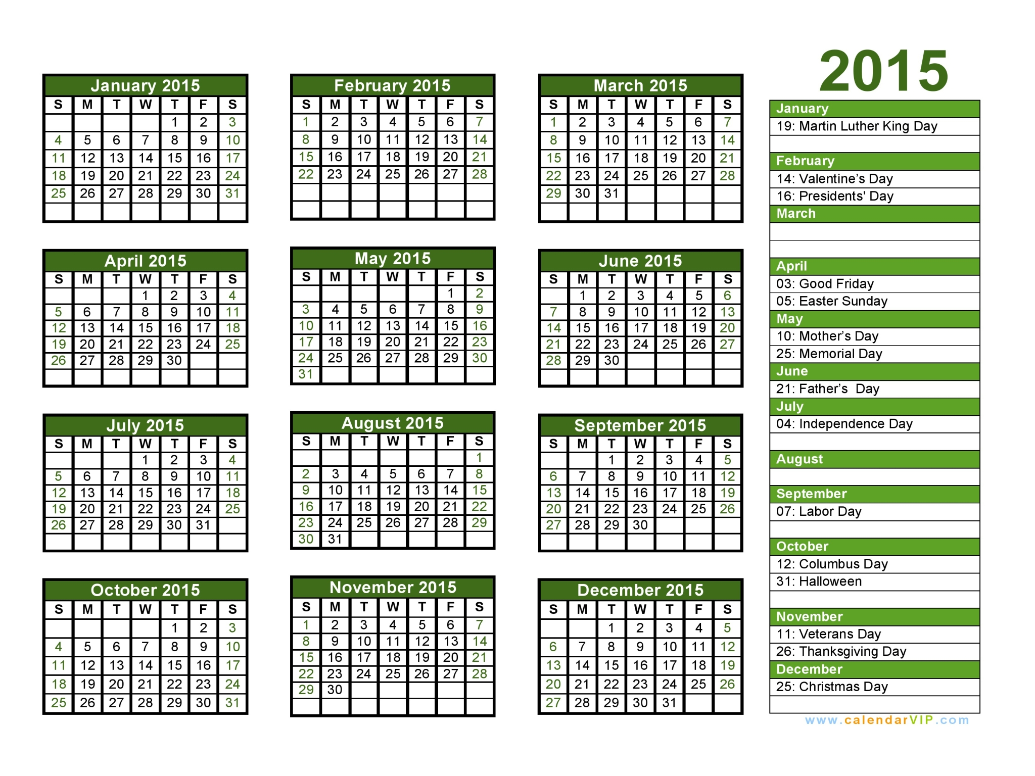 Printable Calendar 2015 With Holidays