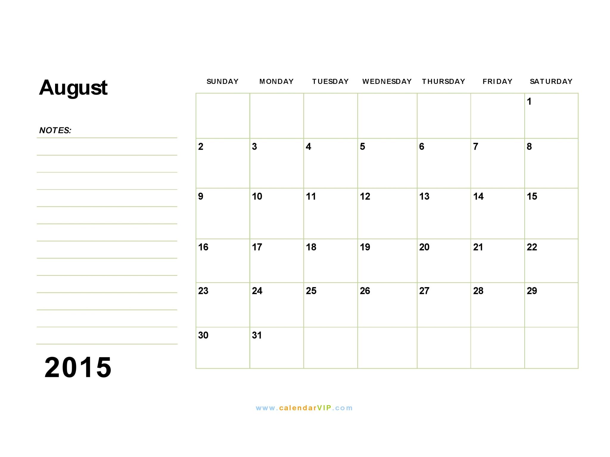 august calendars 2015