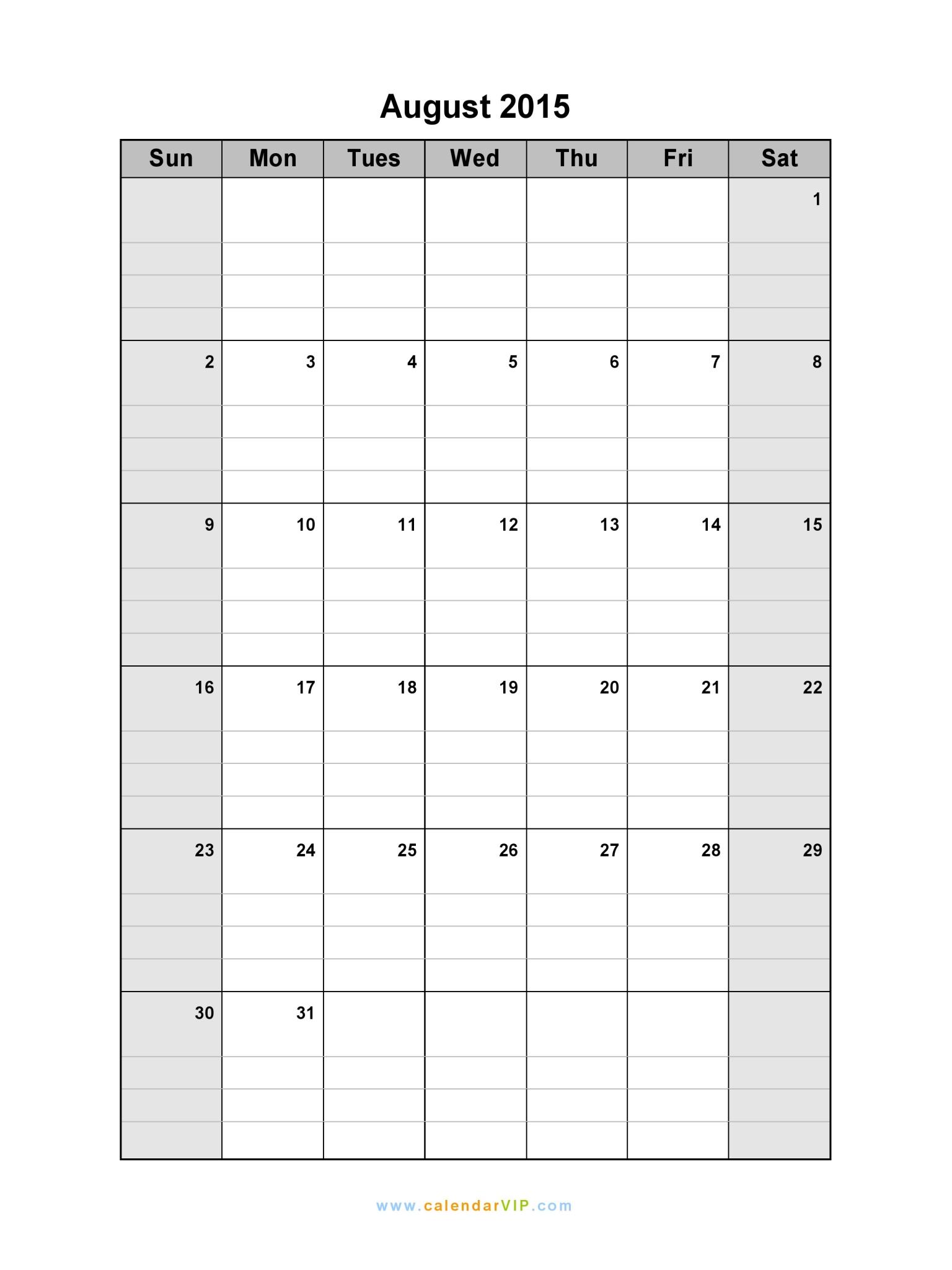 printable blank calendar 2015