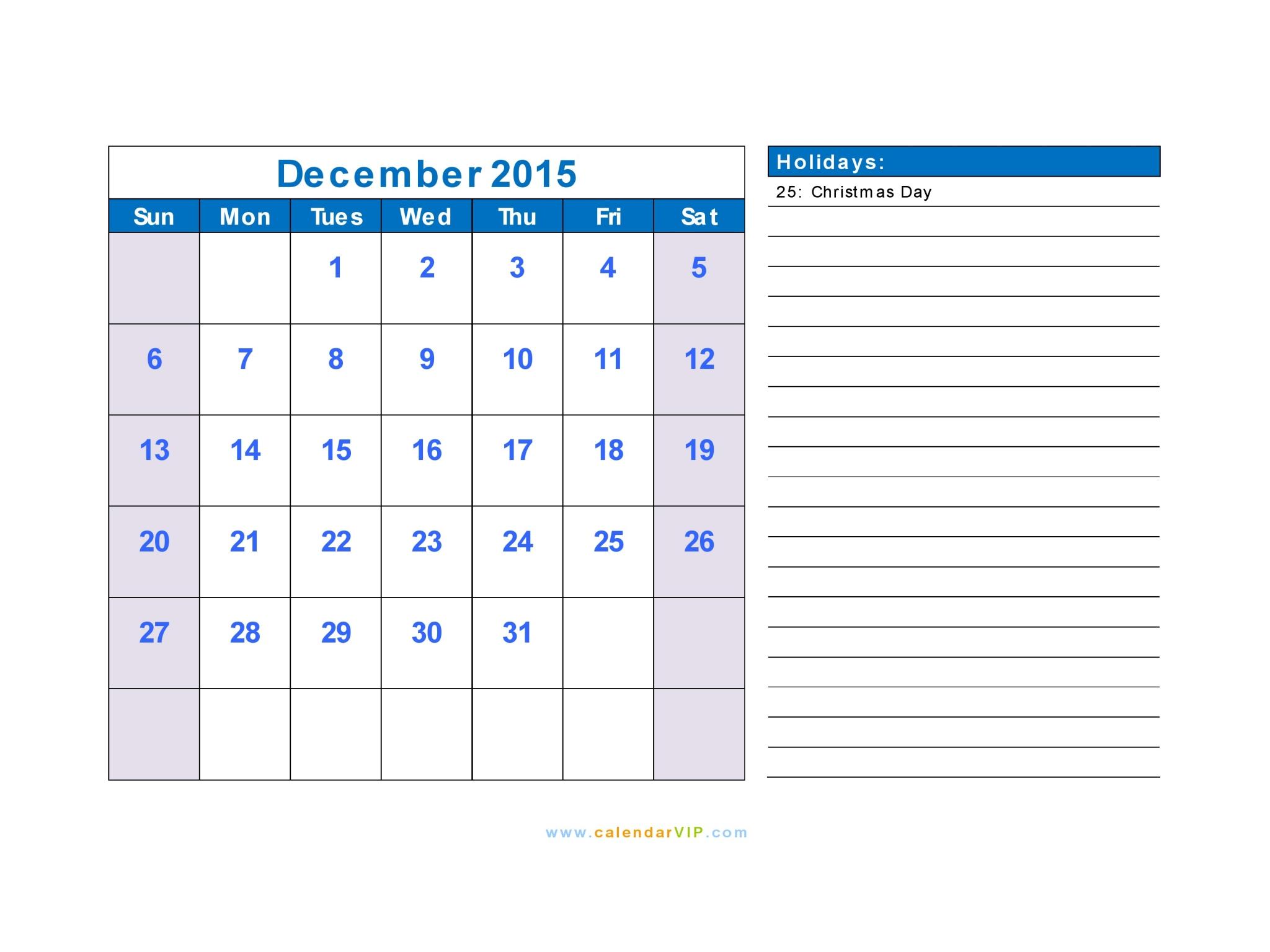 excel 2015 calendar with holidays