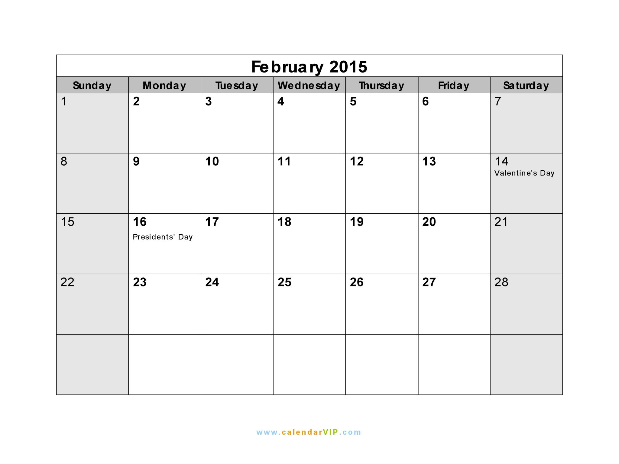 February 2015 Calendar Blank Printable Calendar Template In Pdf