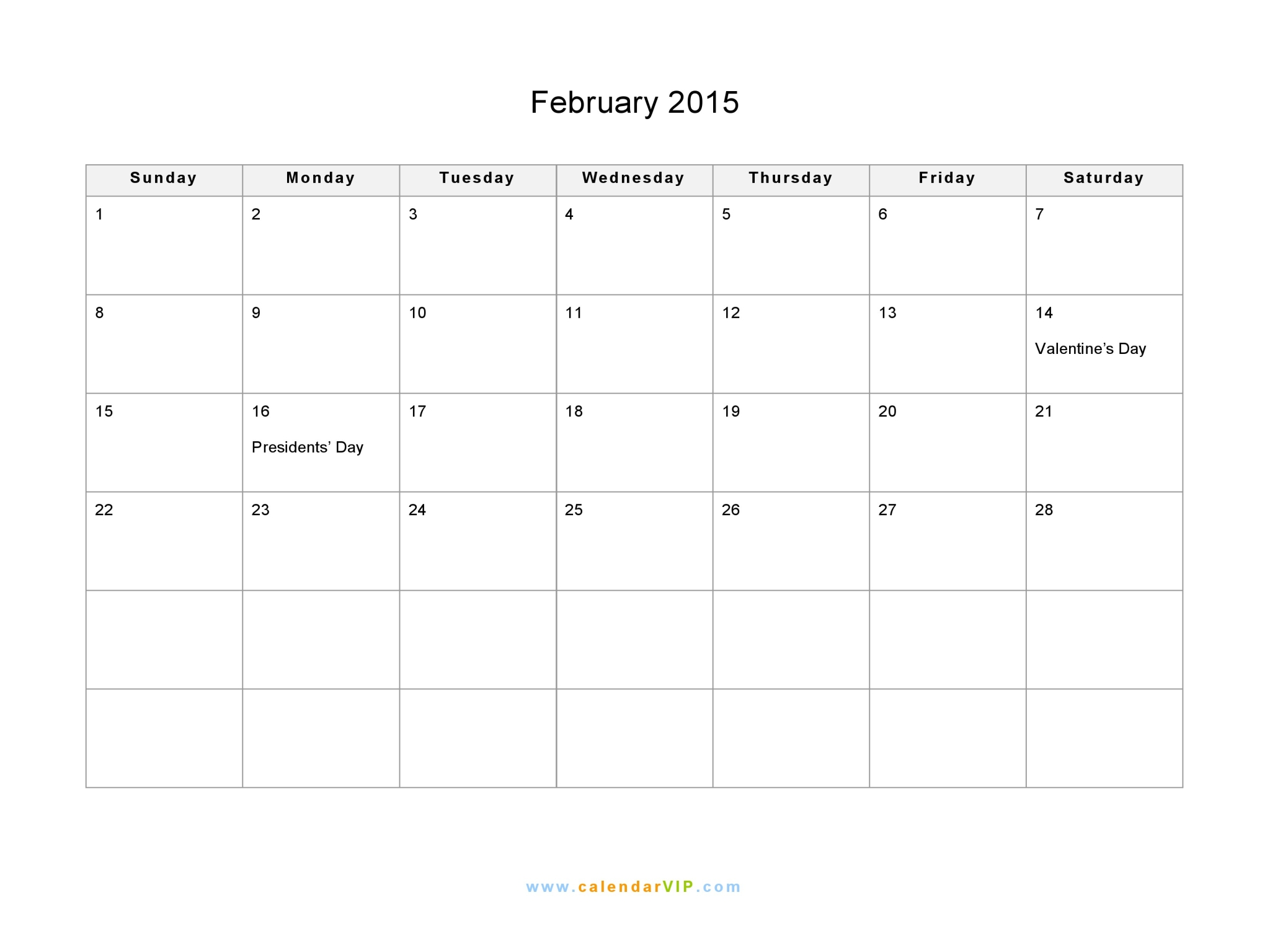 february 2015 calendar printable word