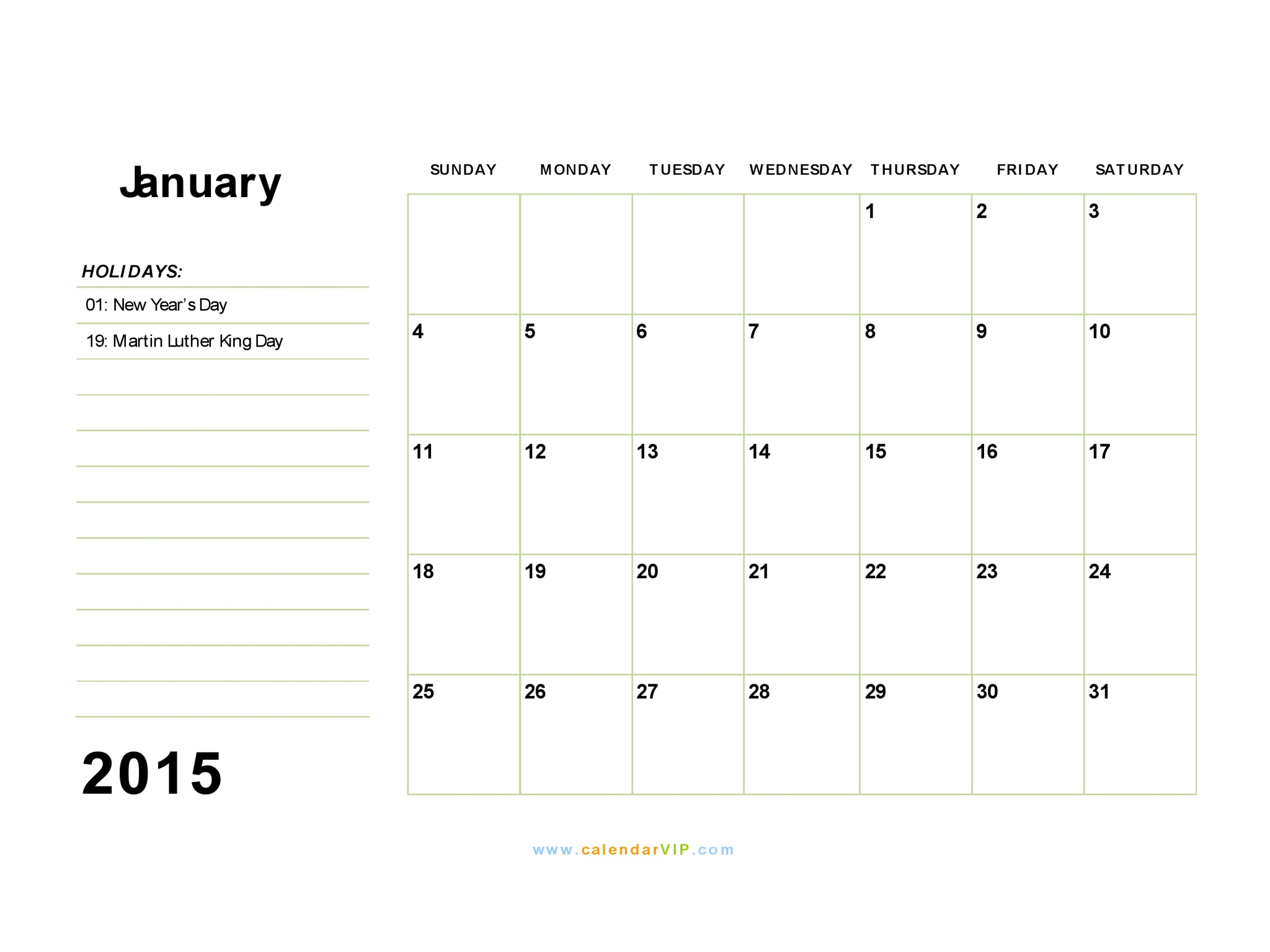 2015 January Calendar Template/page/2 | Printable Calendar Template