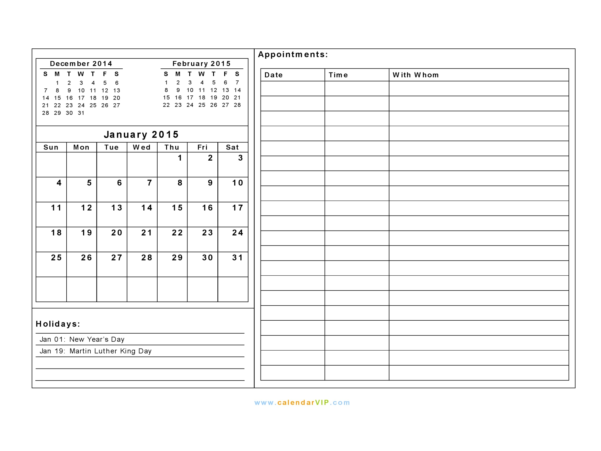 January 2015 Calendar - Blank Printable Calendar Template in PDF Word ...