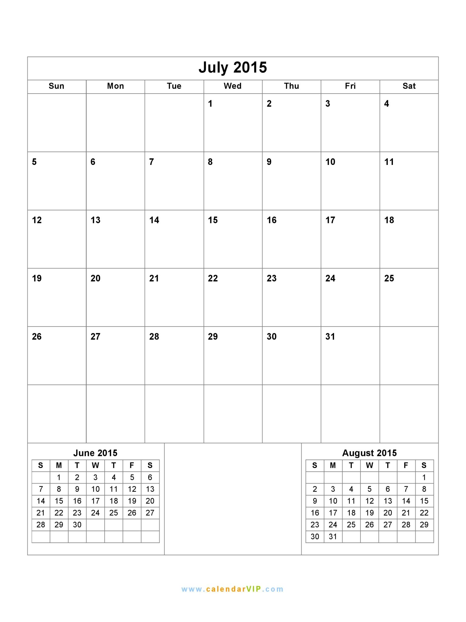 July 2015 Calendar Blank Printable Calendar Template In Pdf Word Excel