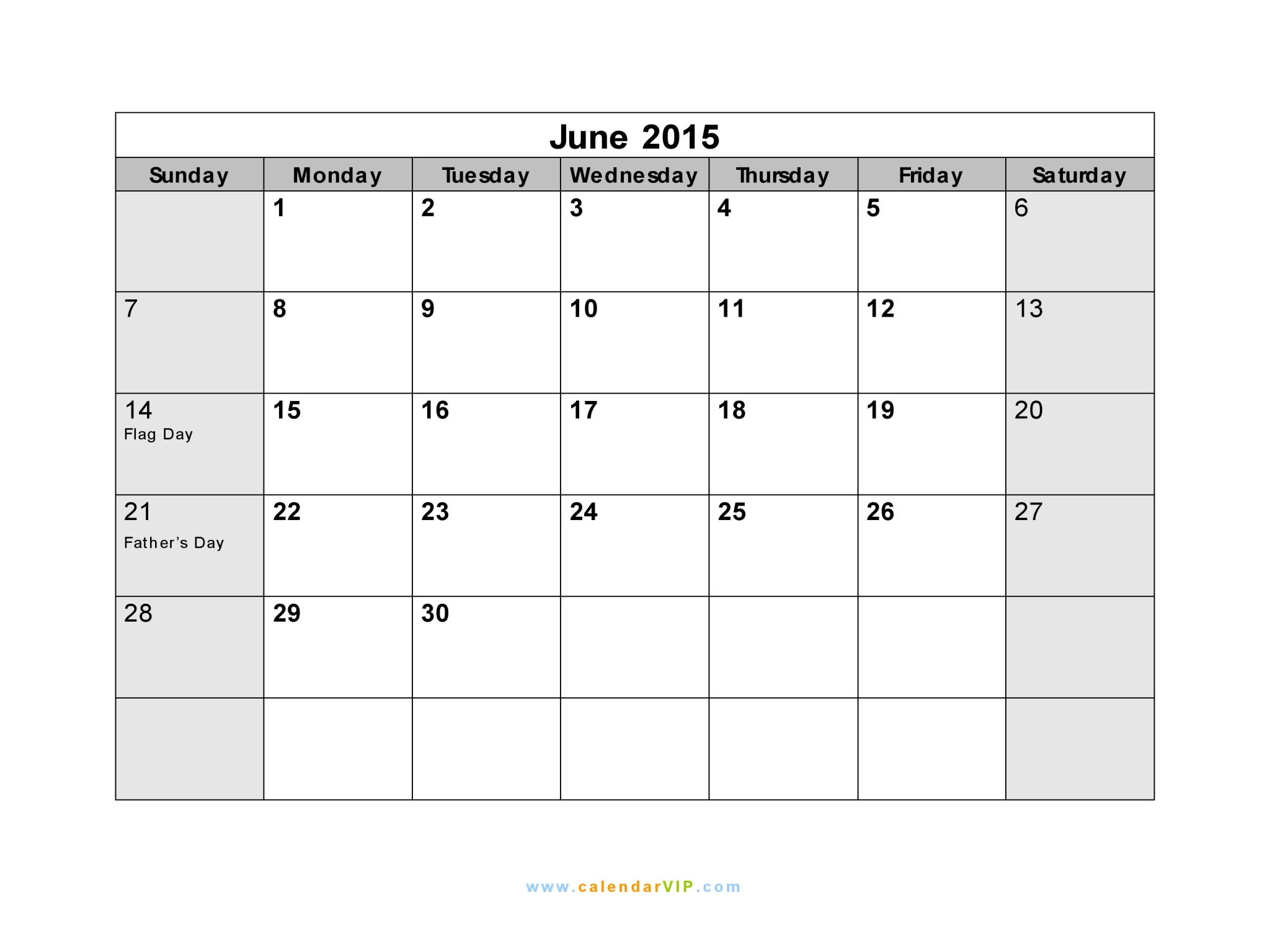 Calendar June 2015 : June calendar blank printable template in