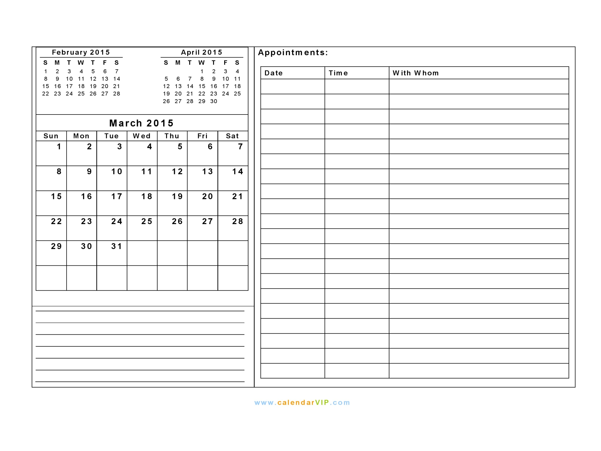 2015 calendar blank printable calendar template in pdf word