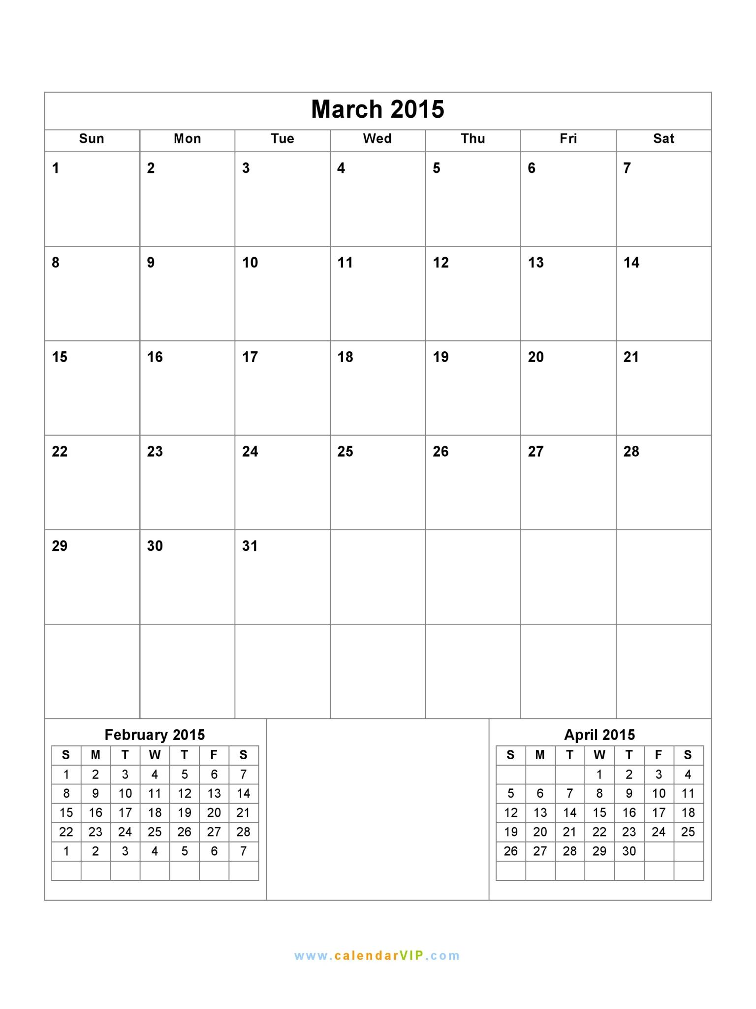 March 2015 calendar blank printable calendar template in pdf word march 2015 calendar saigontimesfo