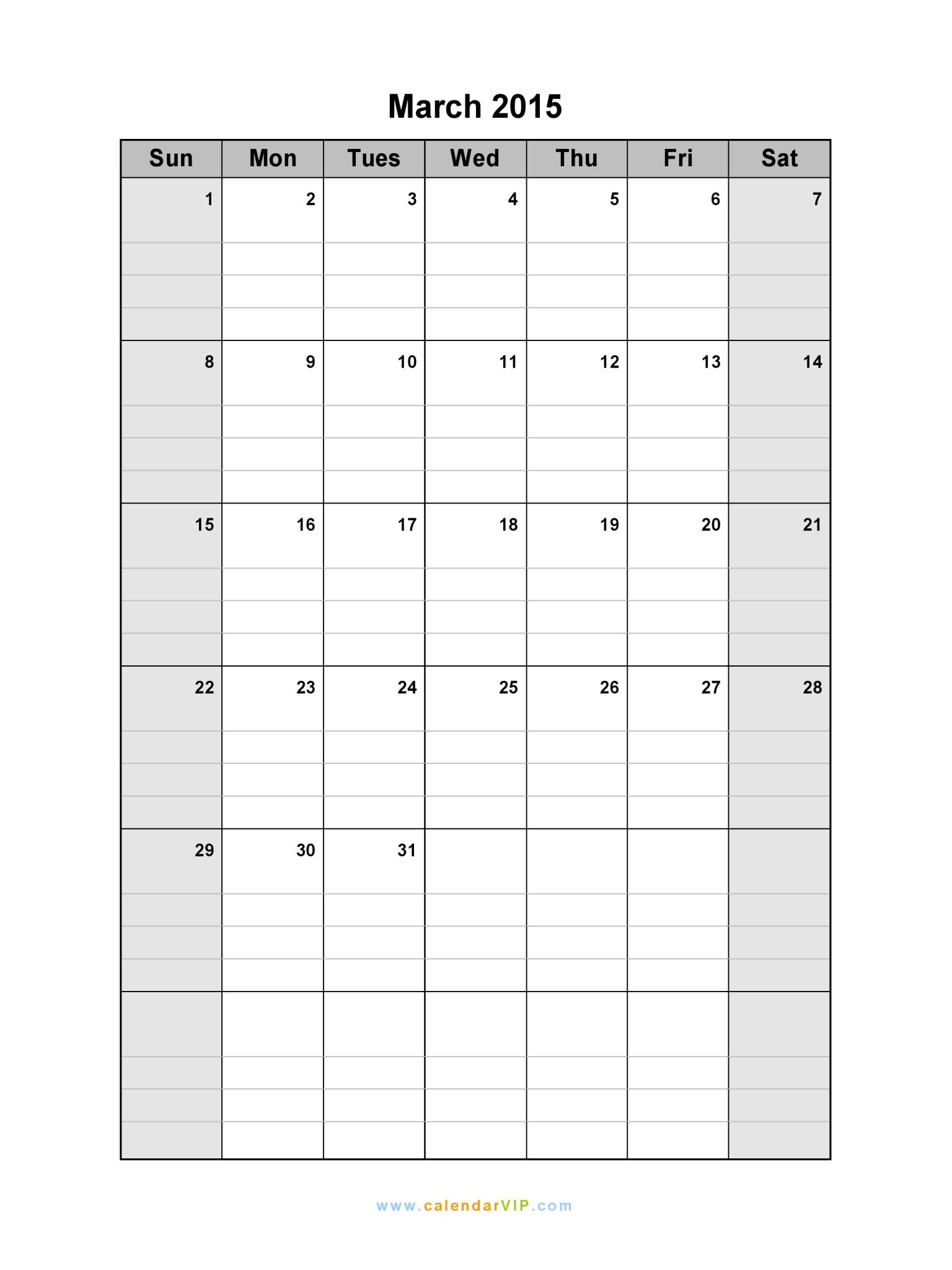 March 2015 Calendar - Blank Printable Calendar Template in PDF Word ...
