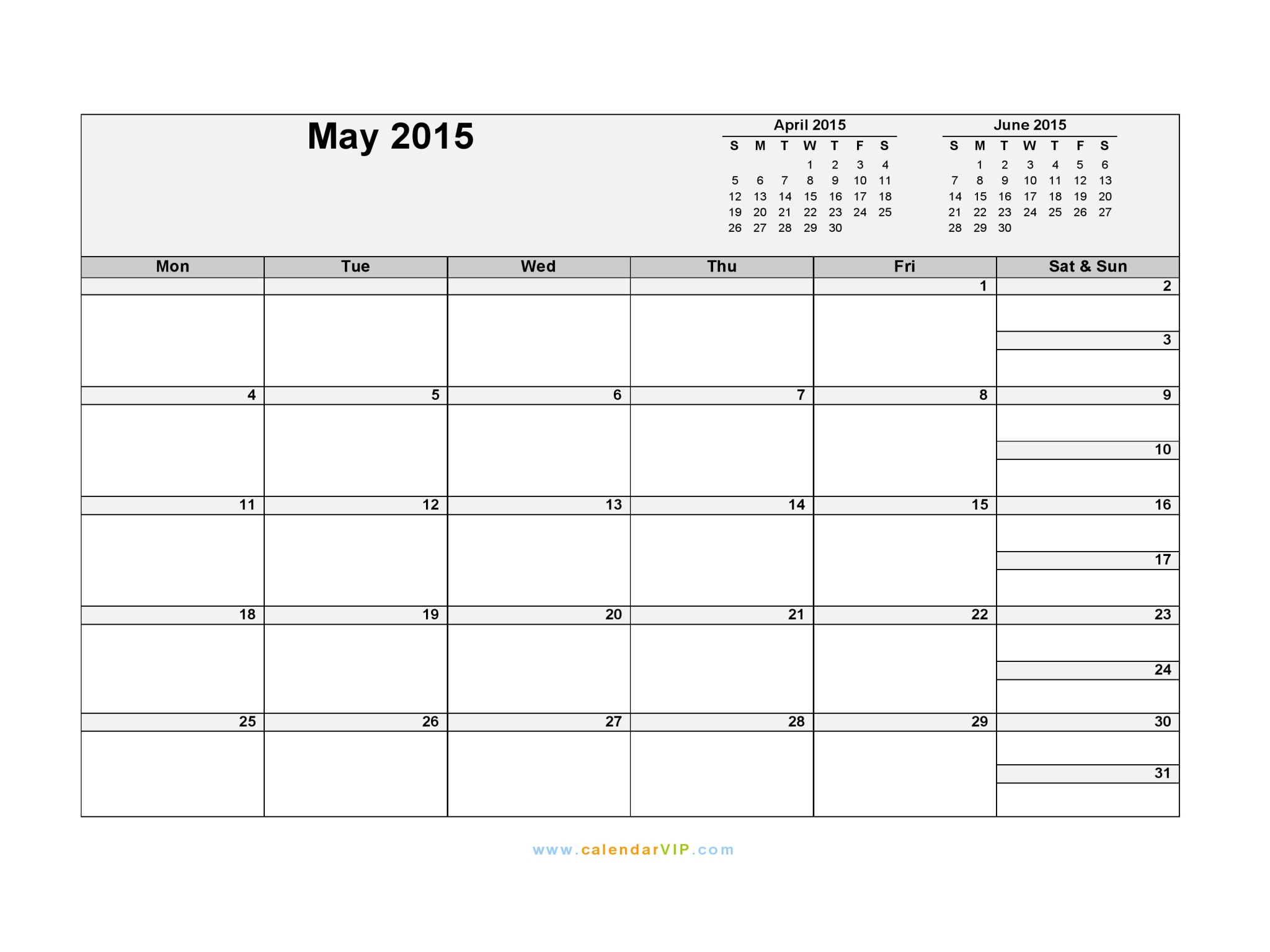 calendar template for may 2015