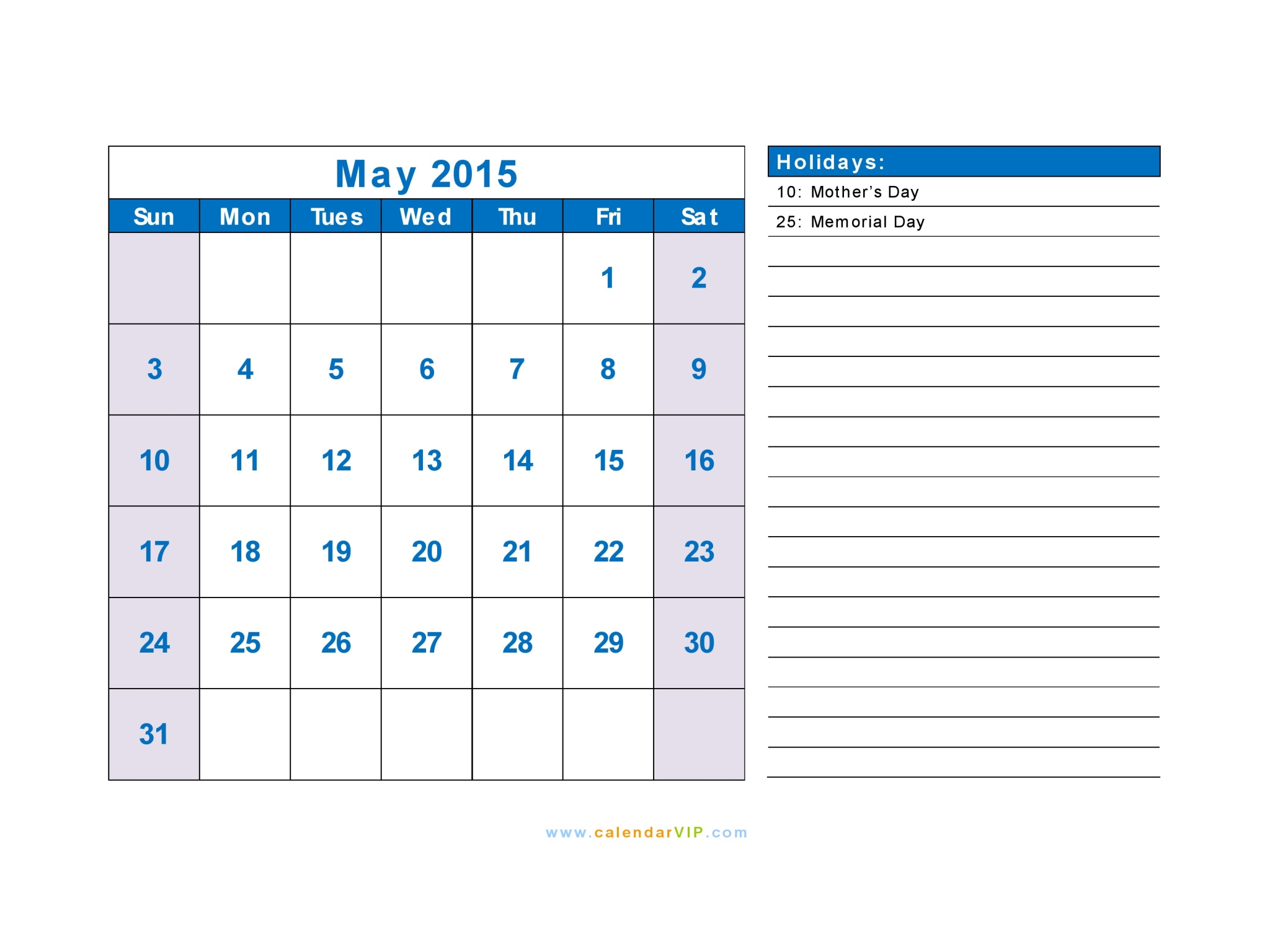 May 2015 Calendar Blank Printable Calendar Template In