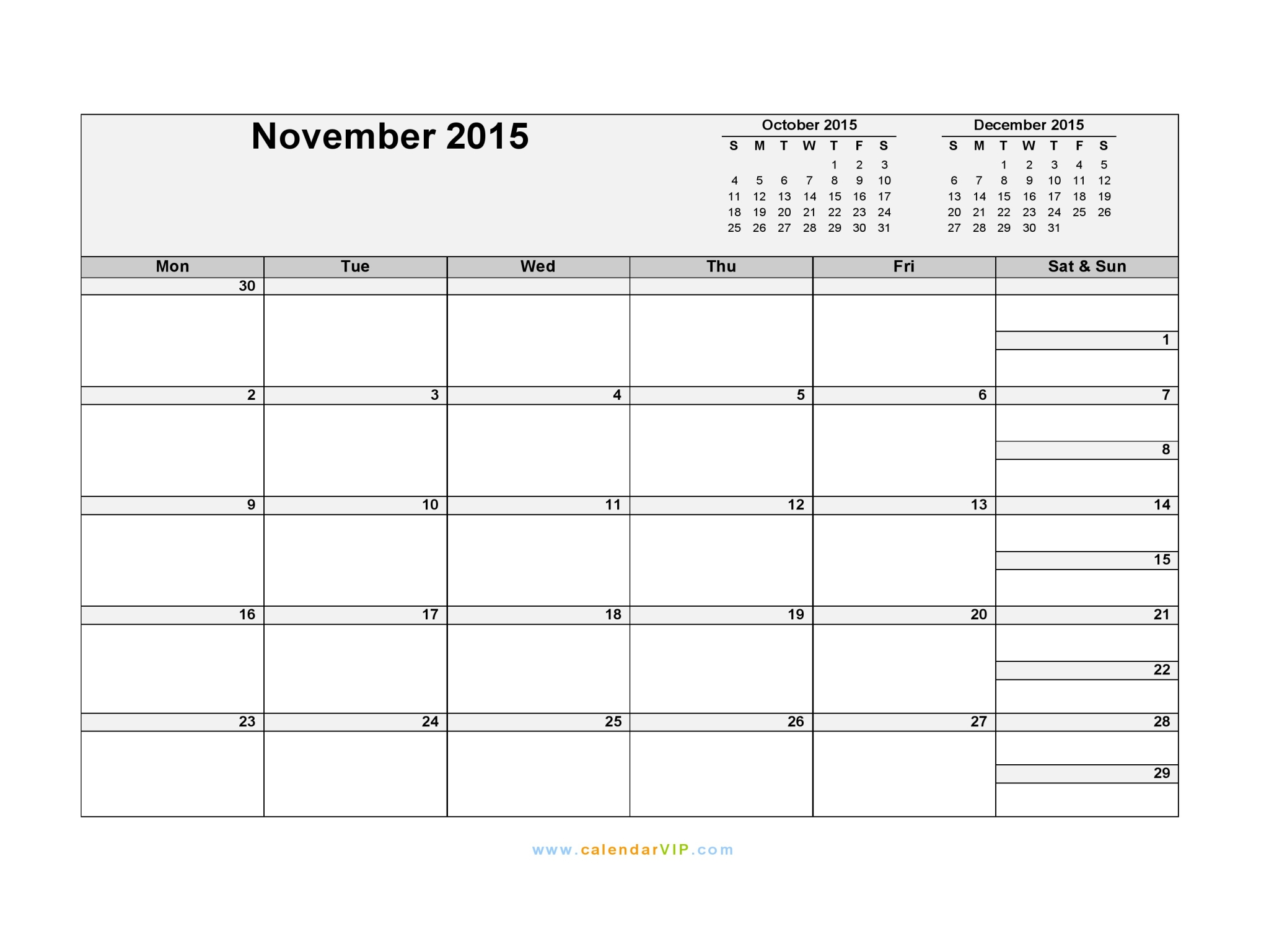 November 2015 Calendar - Blank Printable Calendar Template in PDF ...