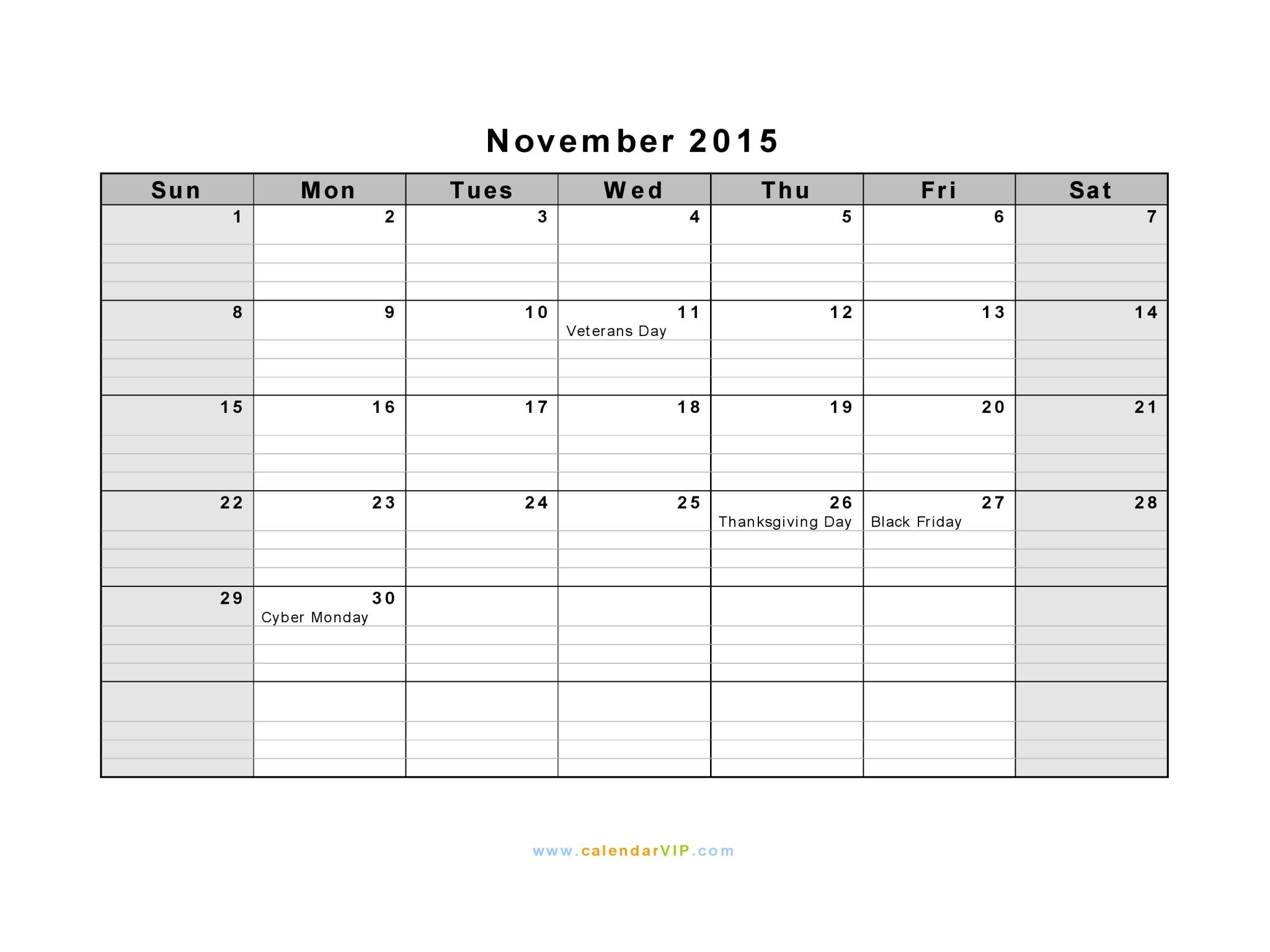 November 2015 Calendar - Blank Printable Calendar Template in PDF ...